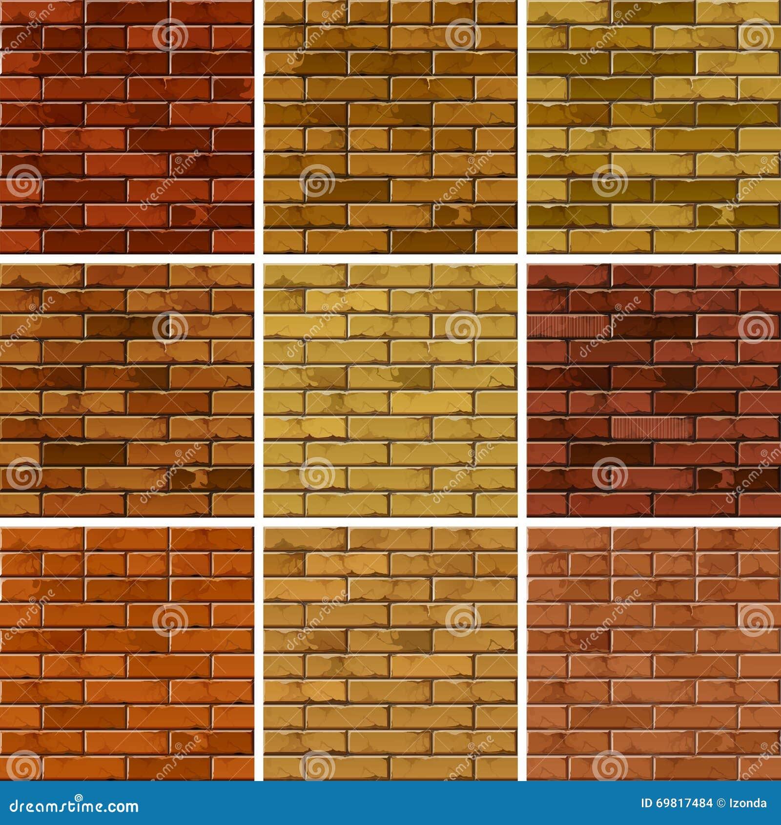 Vektor-Satz Ziegelstein-nahtlose Beschaffenheits-Muster-Wand-Hintergründe