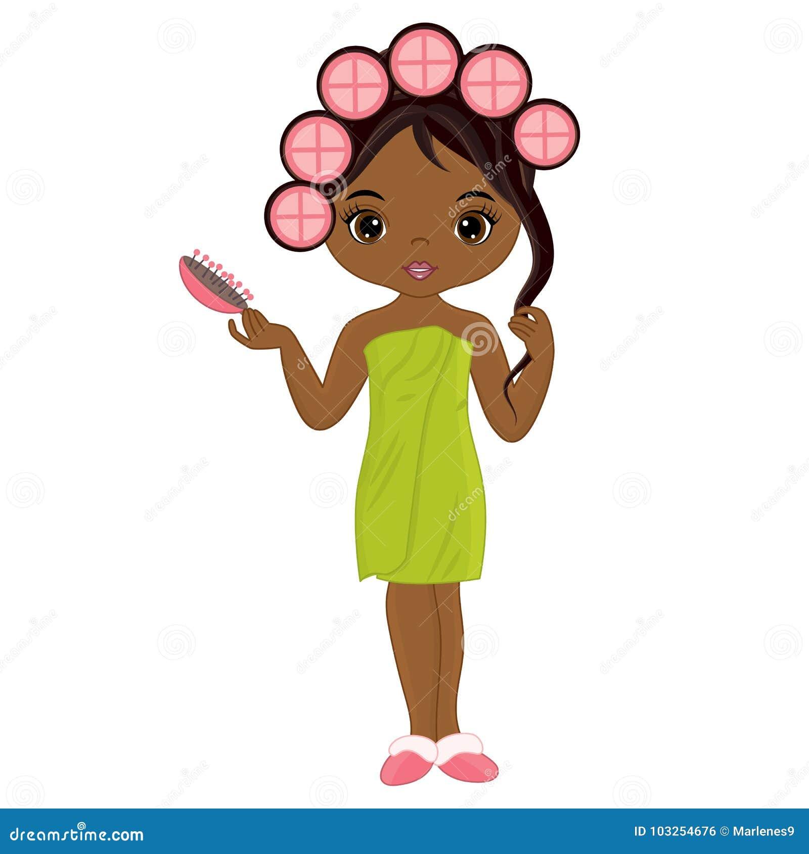 Vektor-schönes Afroamerikaner-Mädchen, das Frisur tut