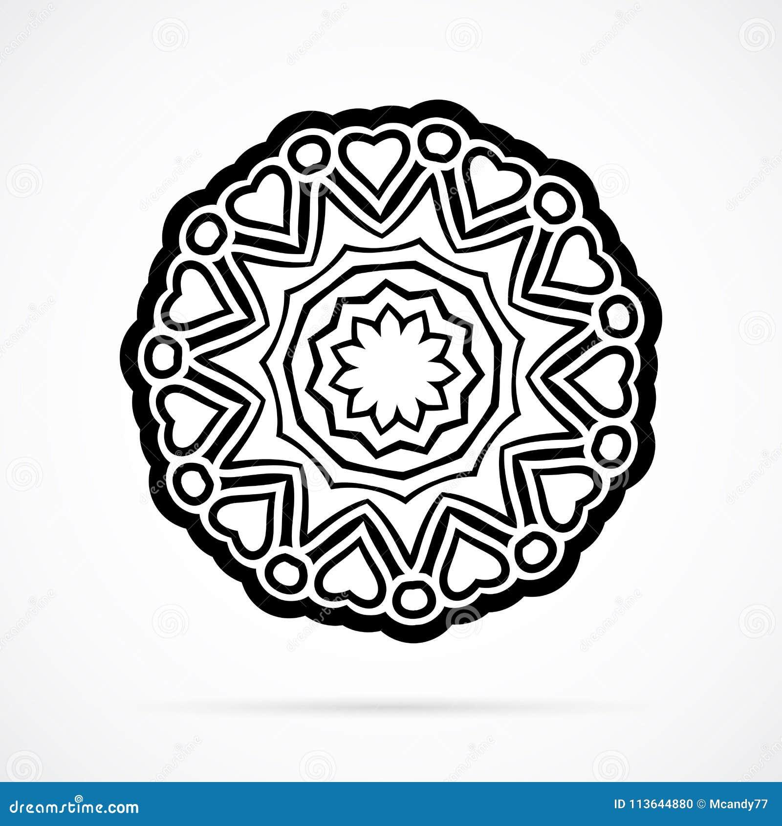 Vektor Schwarze Geometrie Mandala über Weiß Vektor Abbildung