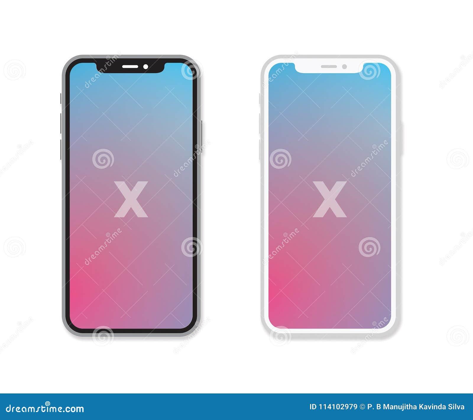 Vektor-schwarze u. weiße Versionen Apples IPhone X