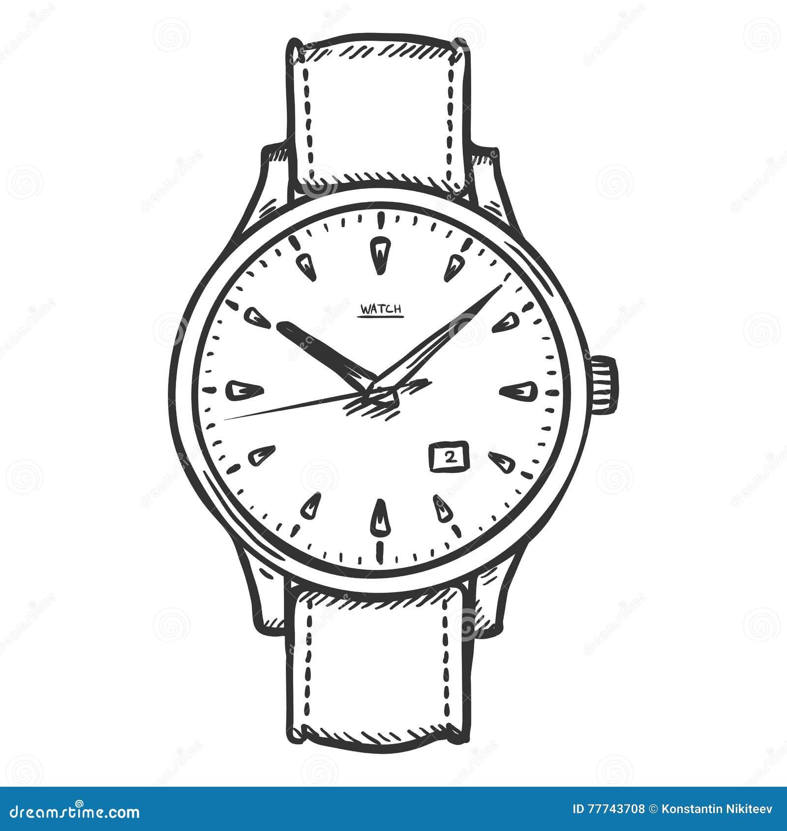 Armbanduhr skizze  Vektor-Skizzen-Retro- Armbanduhr Stock Abbildung - Bild: 77743708