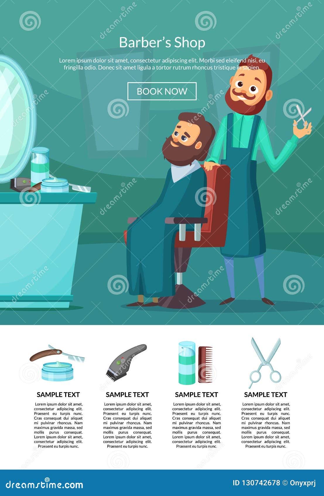 Vektor som landar sidaillustrationen med barberaren som gör en frisyr till en klientinsalonwithtabell och spegel