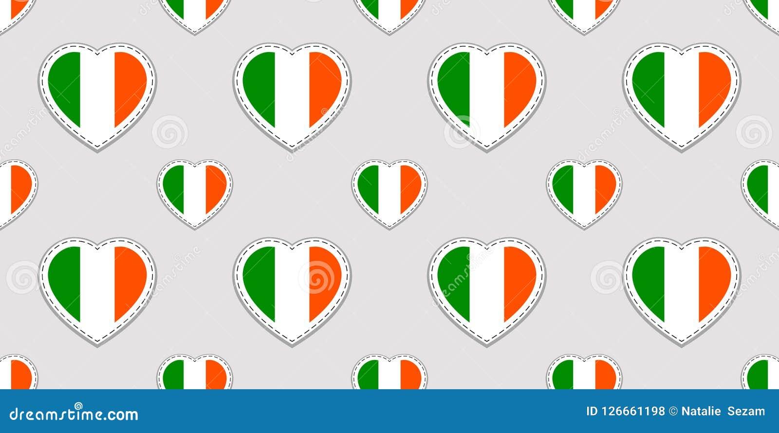 Vektor-St- Patrick` s Tagesnahtloses Muster Hintergrund mit Irland-Staatsflaggeaufklebern Traditionelle Farben Irisches kulturell