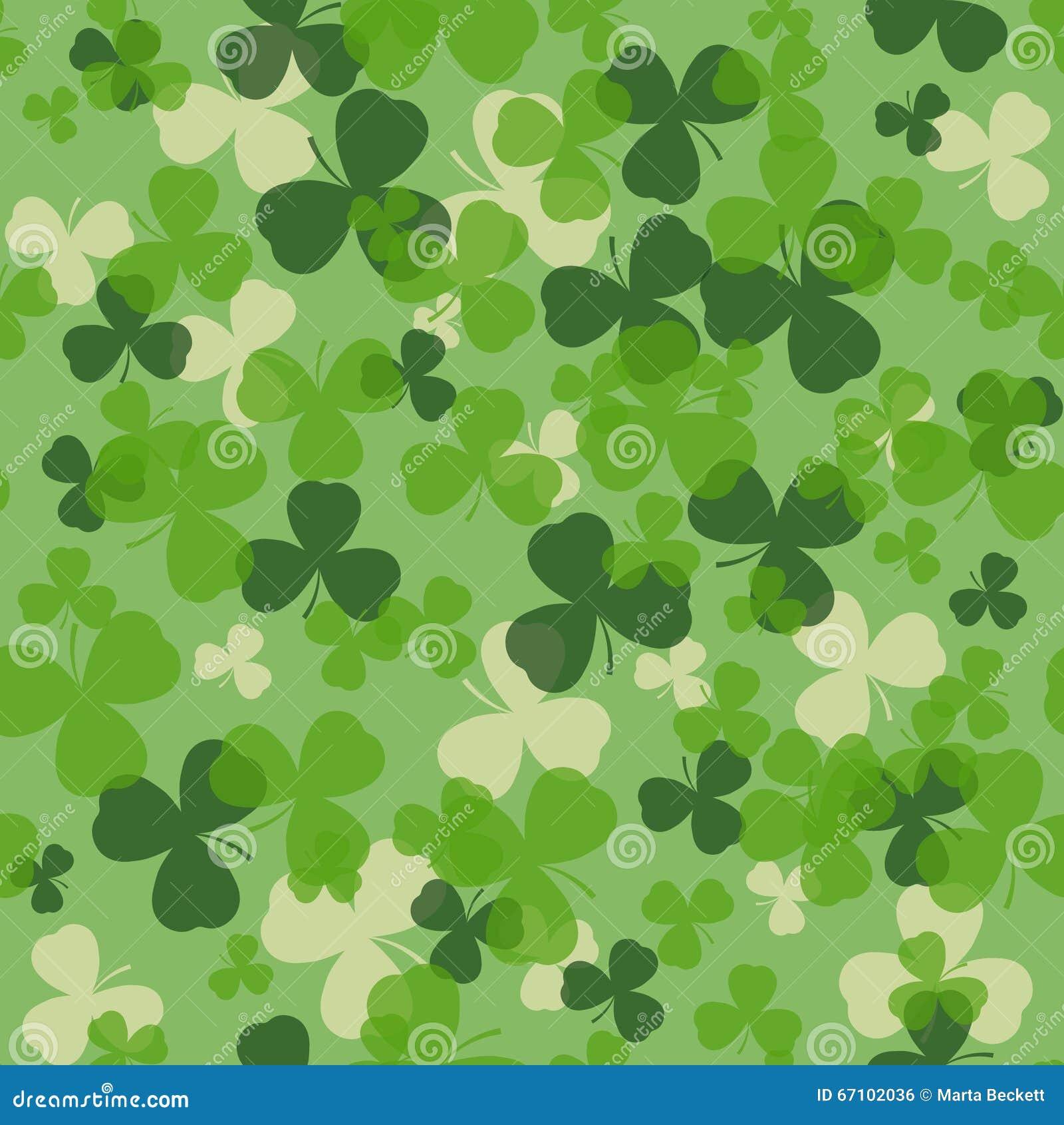 Vektor-St Patrick Tagesnahtloses Muster Grün und Weißkleeblätter auf grünem Hintergrund