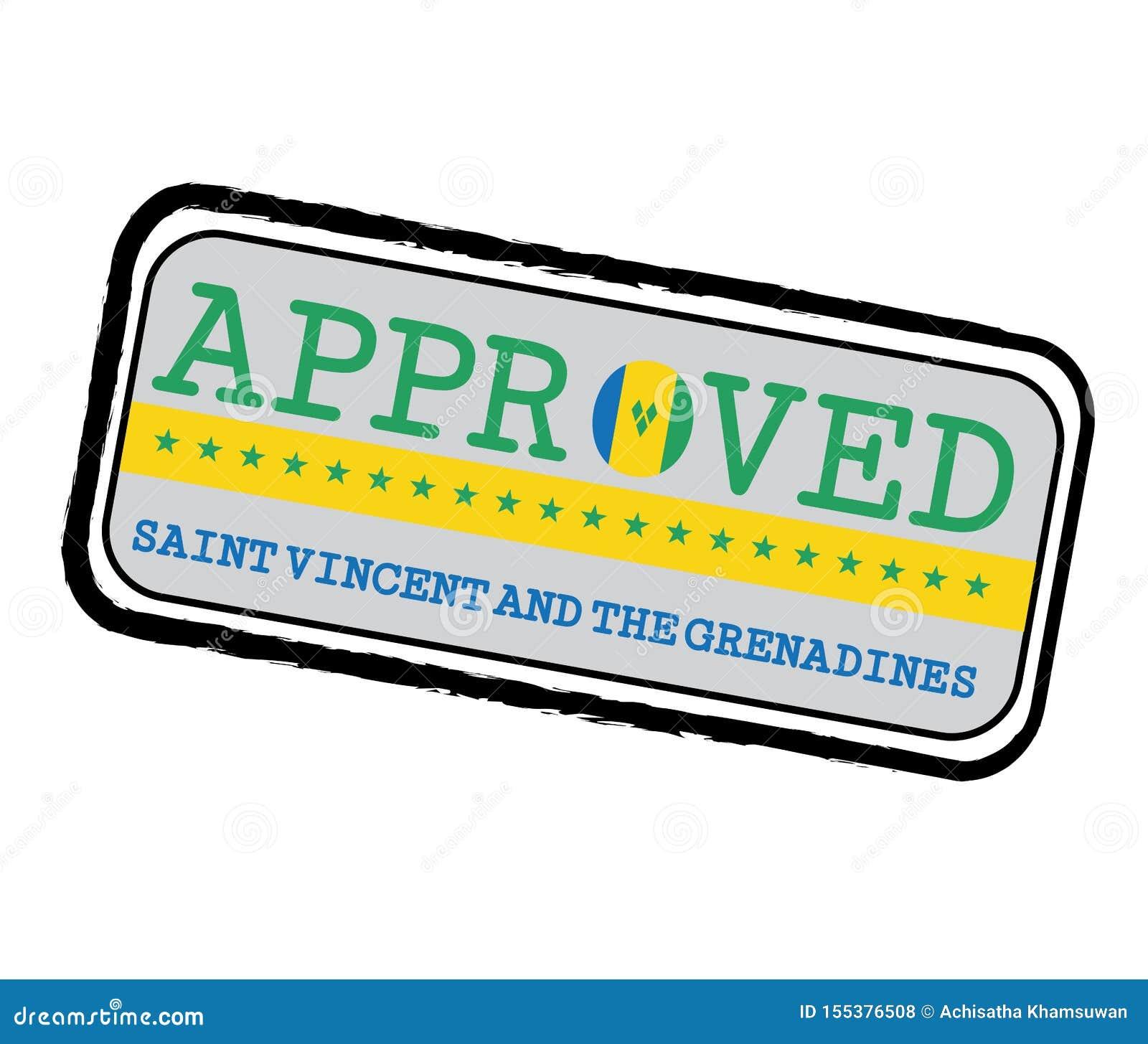 Vektor-Stempel des anerkannten Logos mit Heiligem Vincent Flag in Form O und des Textes St. Vincent und die Grenadinen