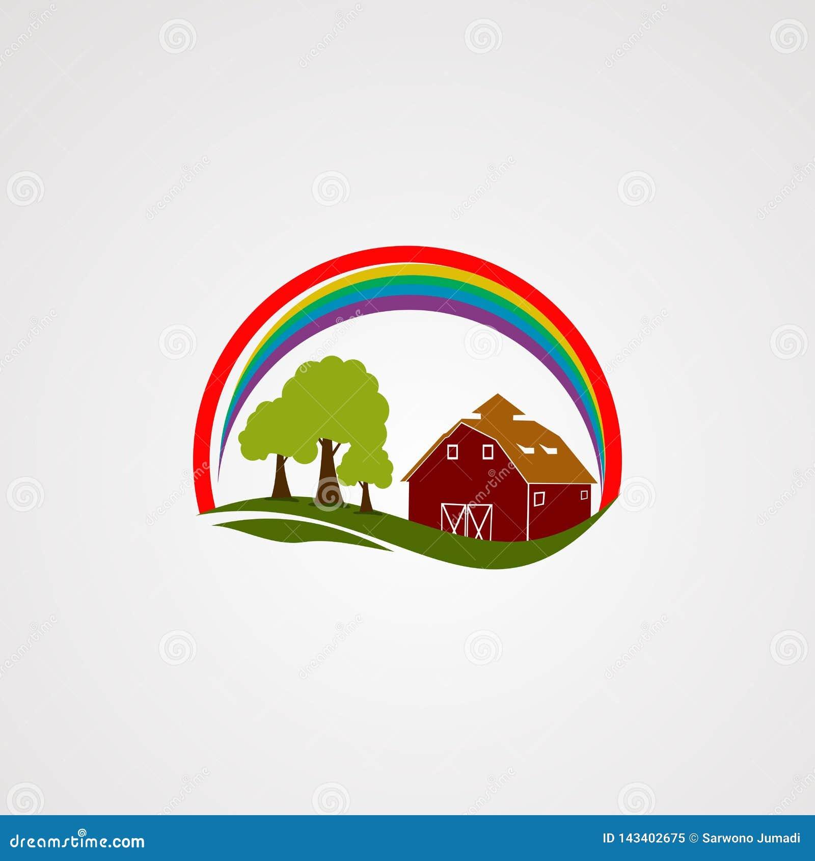 Vektor, symbol, beståndsdel och mall för logo för regnbågehemlantgård för företag