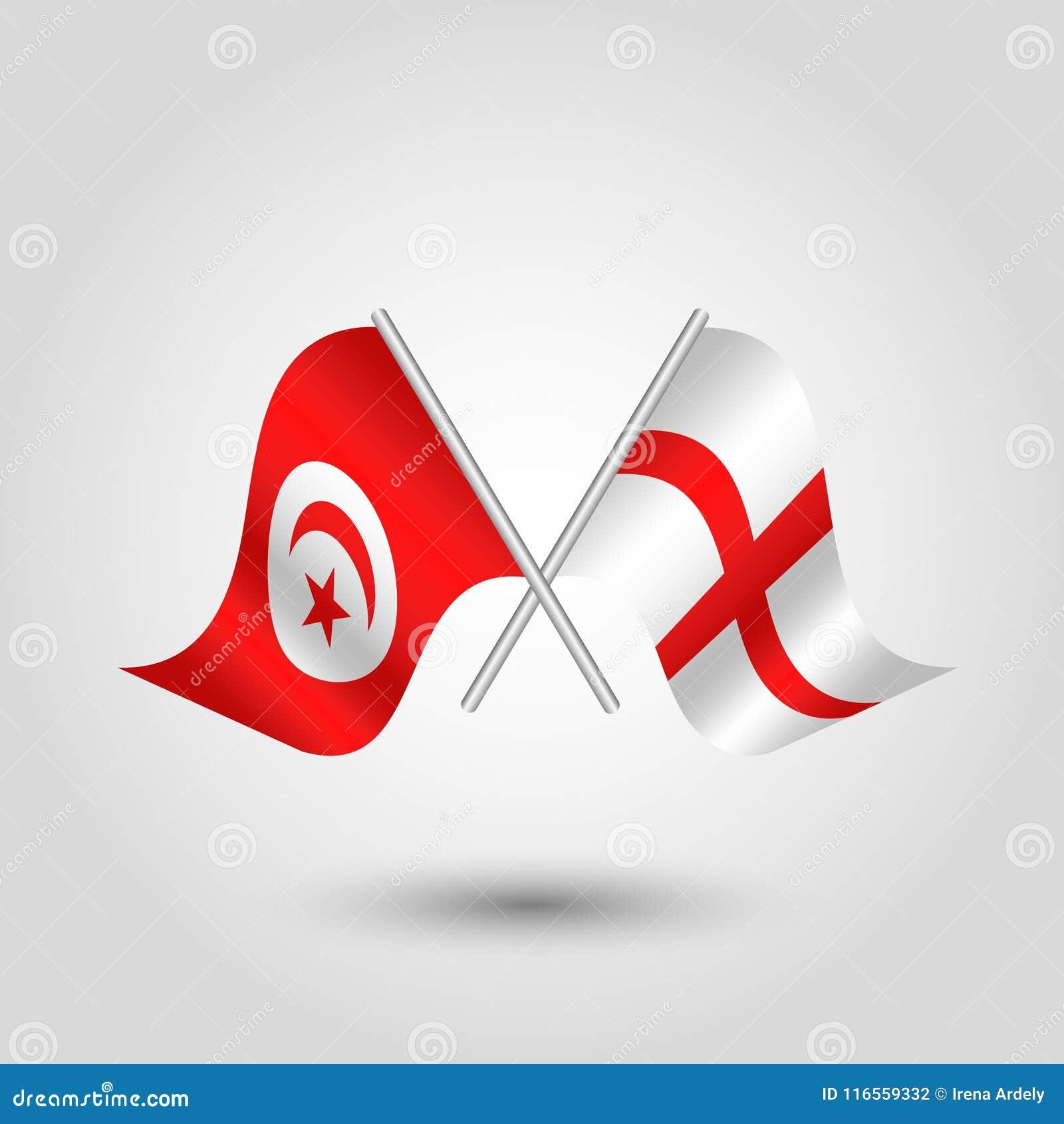 Vektor två korsade tunisian engelska flaggor på silverpinnar - symbol av Tunisien och England
