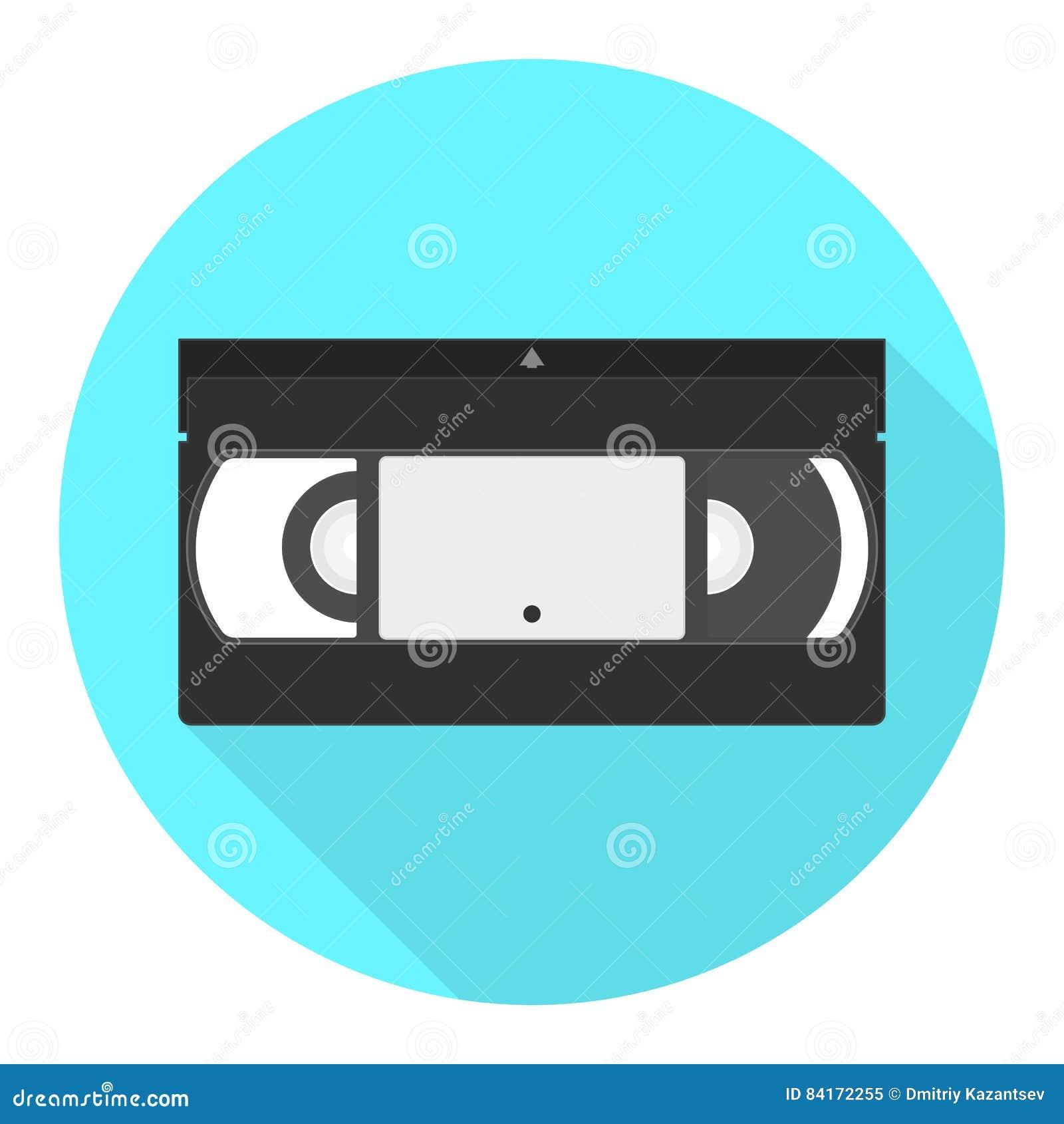 Vektor VHS-Kassettenikone Flache Ikone des Videobandes
