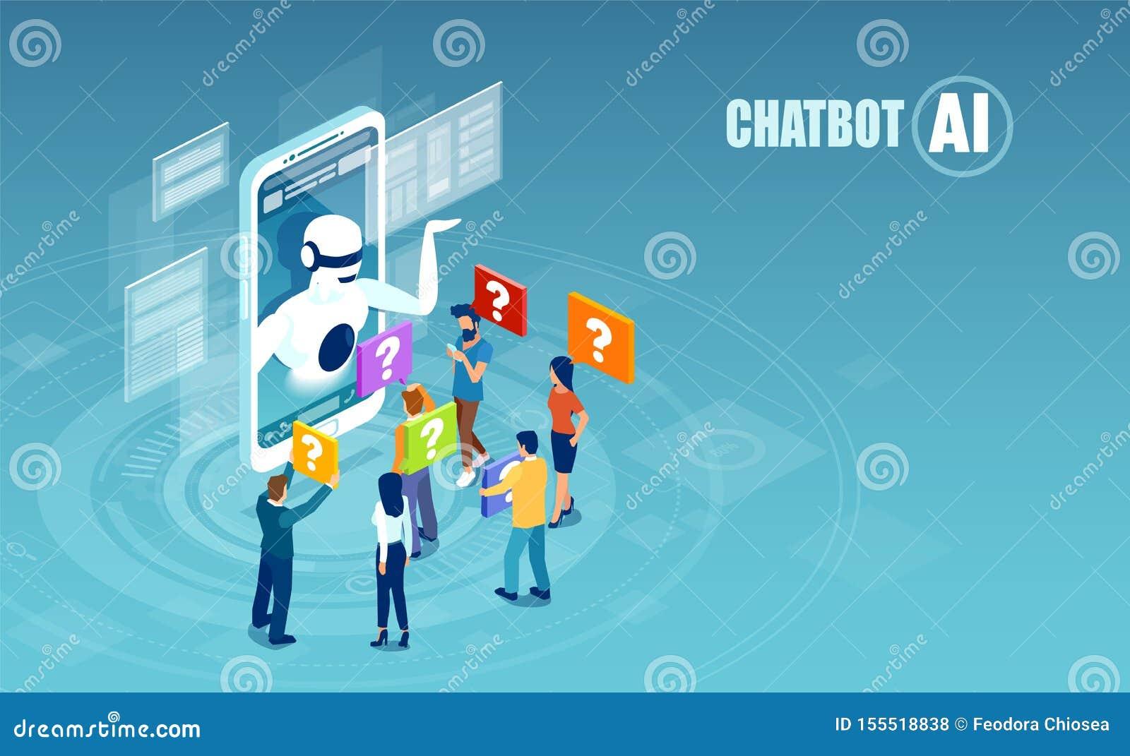 Vektor von den Männern und von Frauen, die mit chatbot Anwendung plaudern
