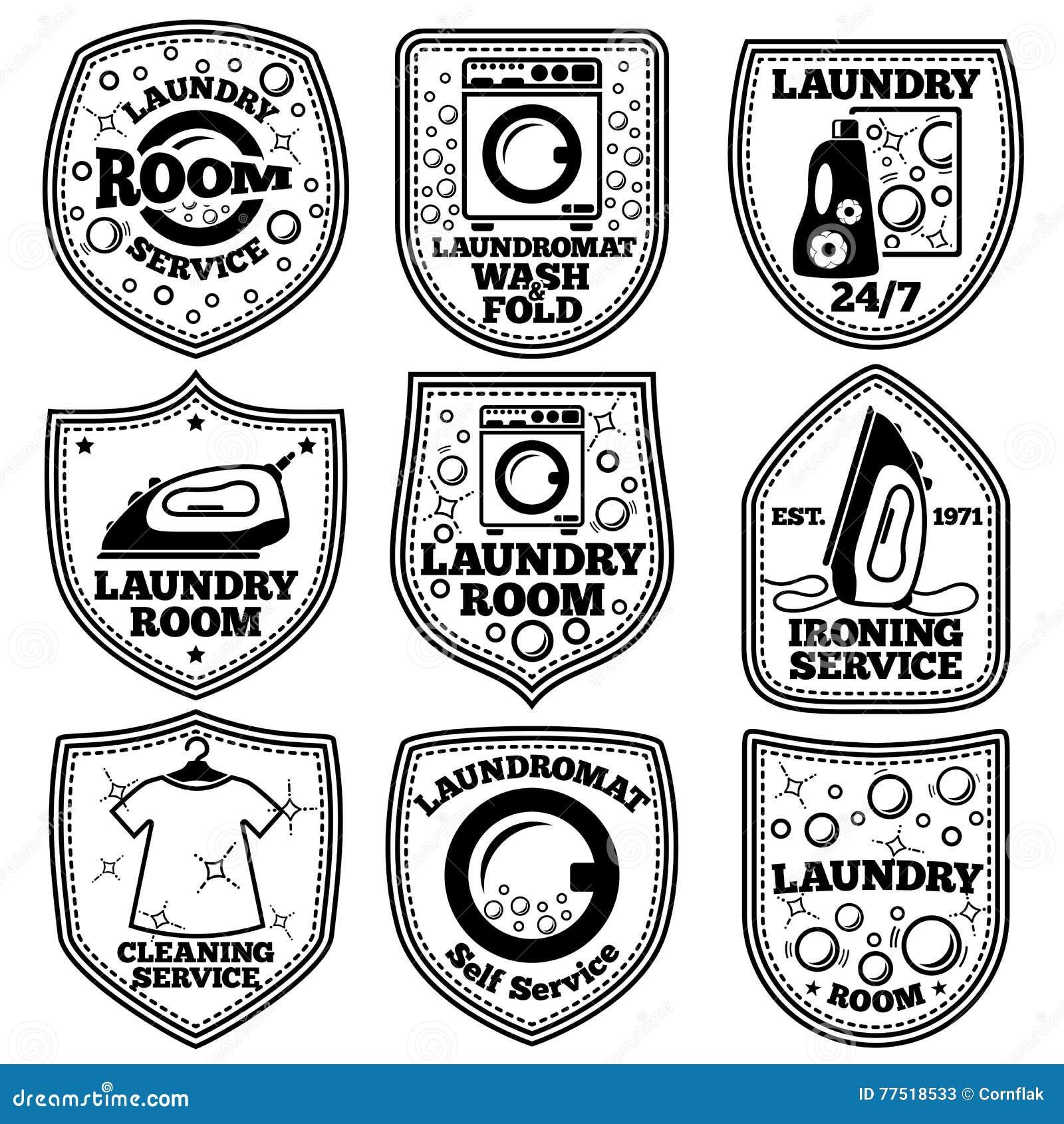 Vektor-WäschereiKennsatzfamilie Mit Waschautomaten, Eisen, Kleidung, Blasen, Reinigungsmittel usw.