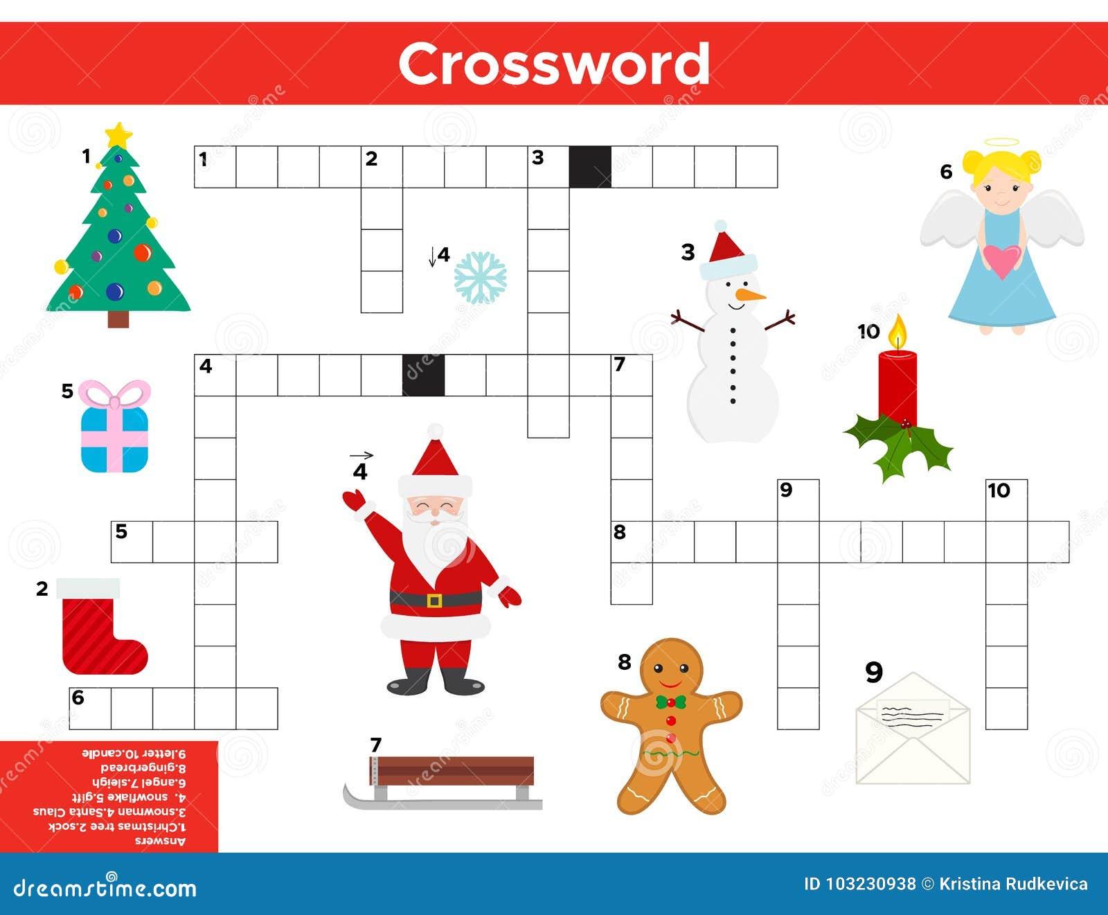 Vektor Weihnachten Neues Jahr Kreuzworträtsel Auf Englisch Vektor