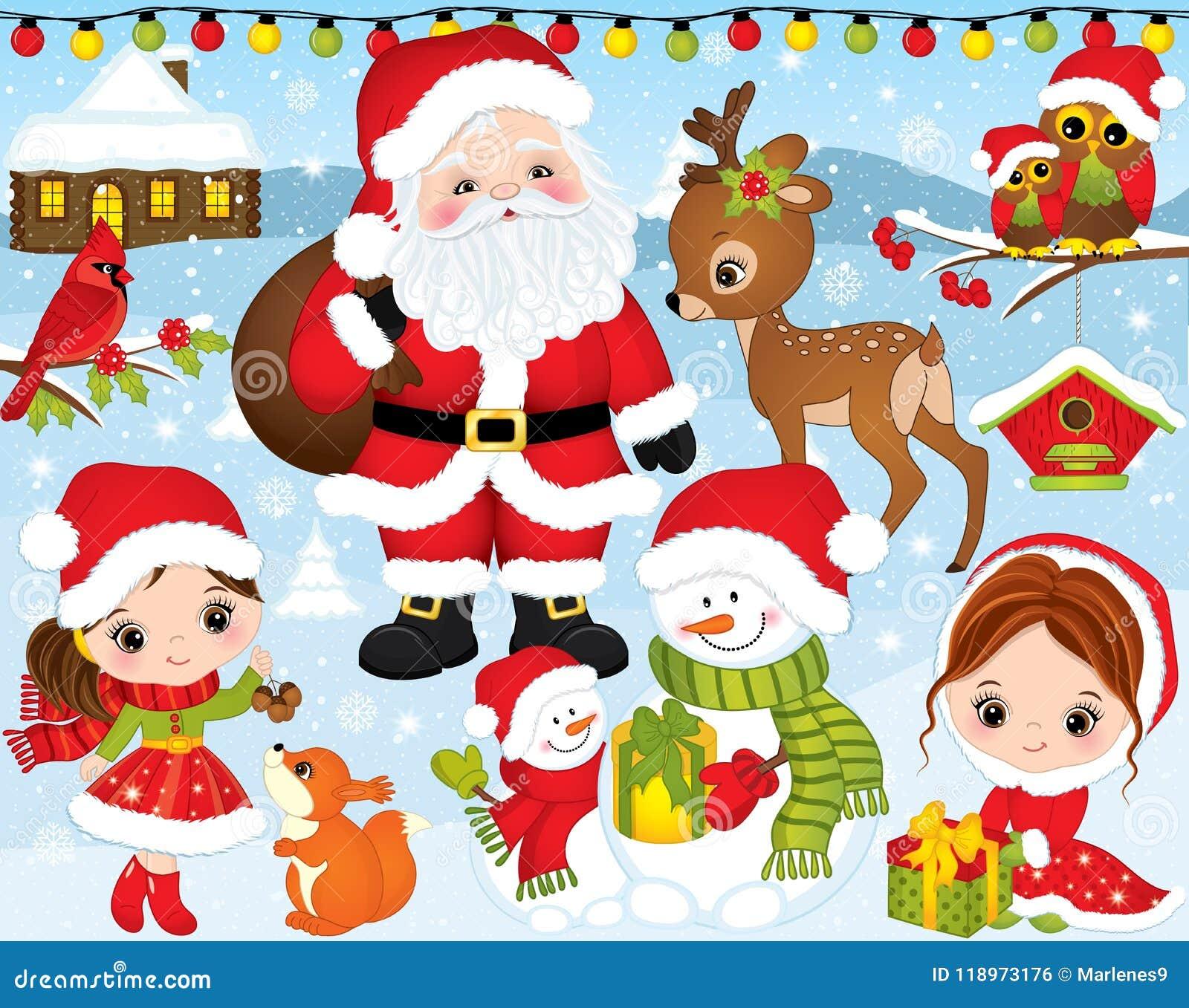Weihnachten Bilder Bearbeiten.Vektor Weihnachten Und Neues Jahr Eingestellt Mit Sankt Kleinen