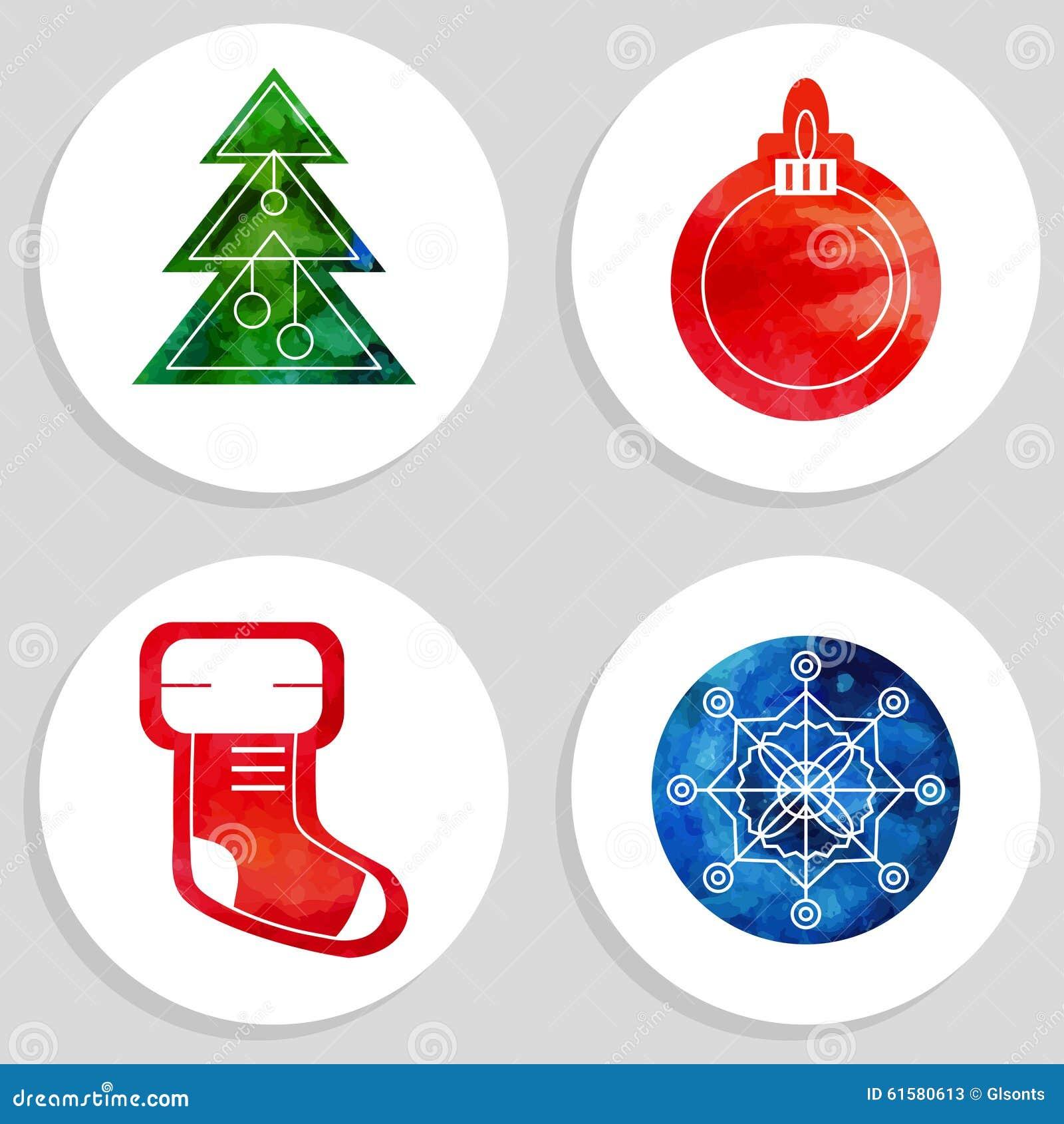 Vektor-Weihnachts- Und Des Neuen Jahressymbole Vektor Abbildung ...