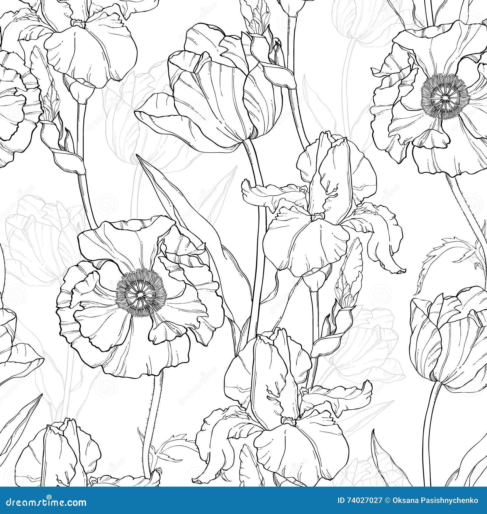 Vektor Weinlese Schwarz Weiße Blumen Die Nahtloses Wiederholungs