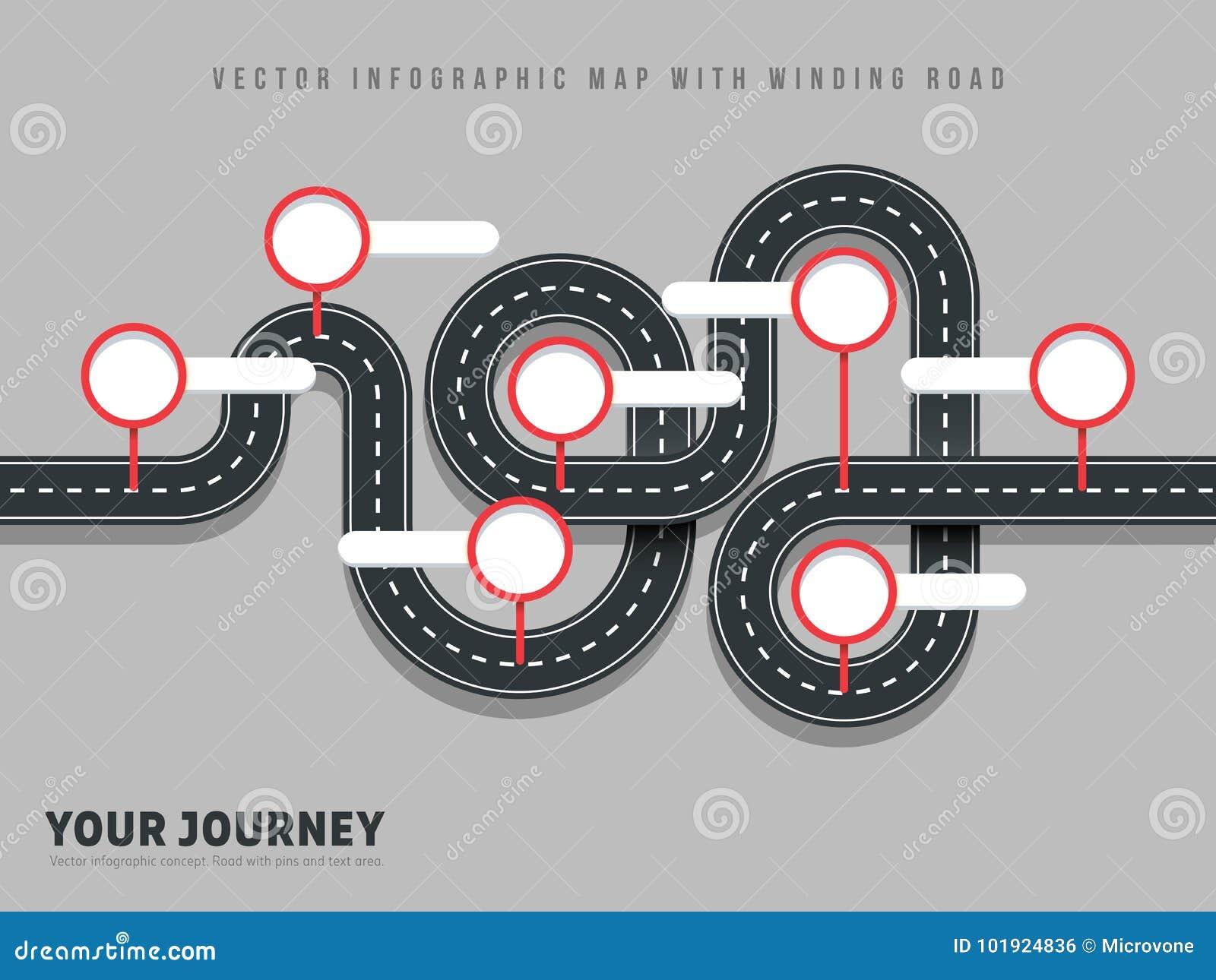 Vektor-Weisenkarte der Navigationskurvenreichen straße infographic auf grauem Hintergrund