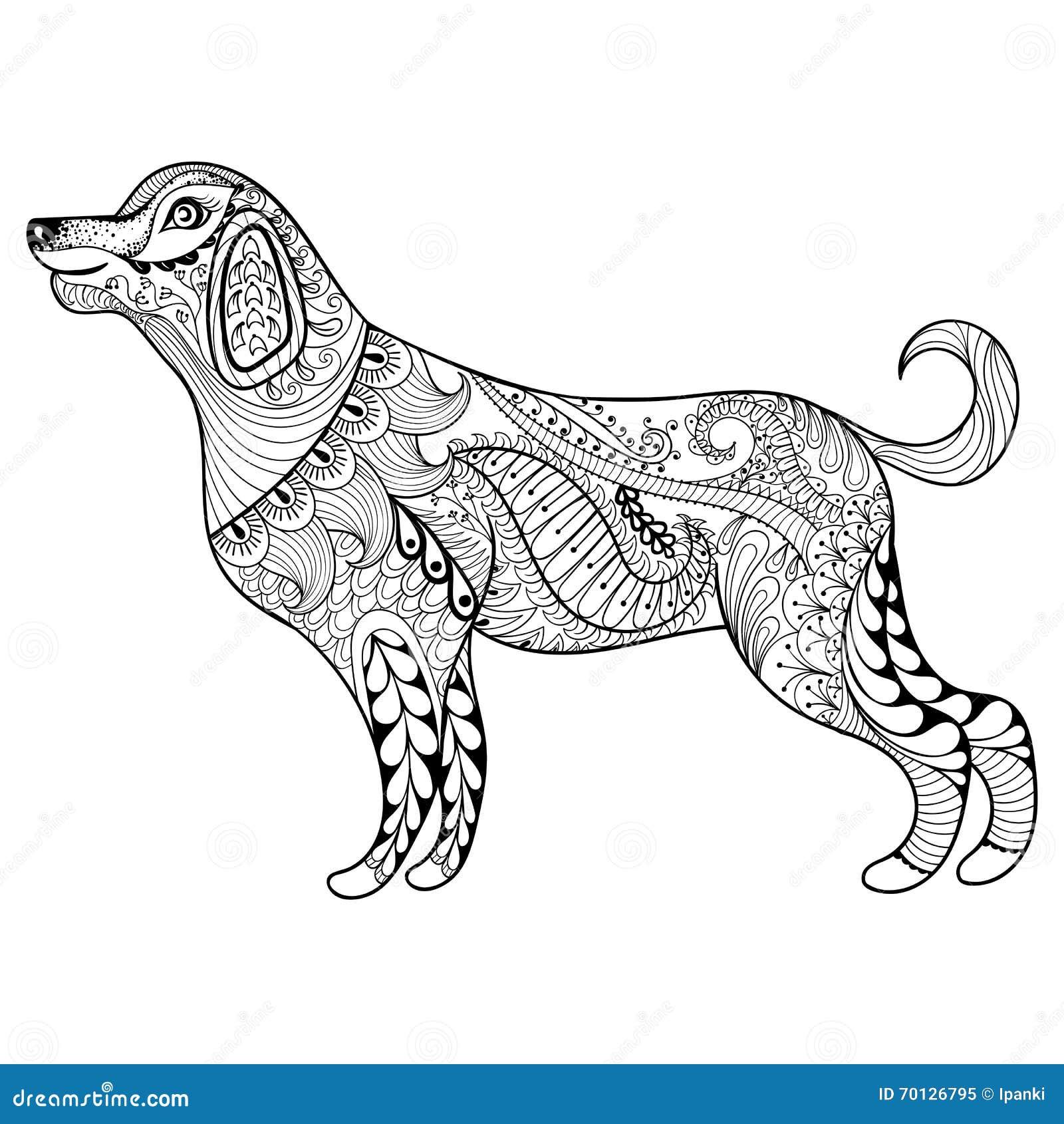 Vektor Zentangle Hundedruck Fr Erwachsene Farbtonseite Hand