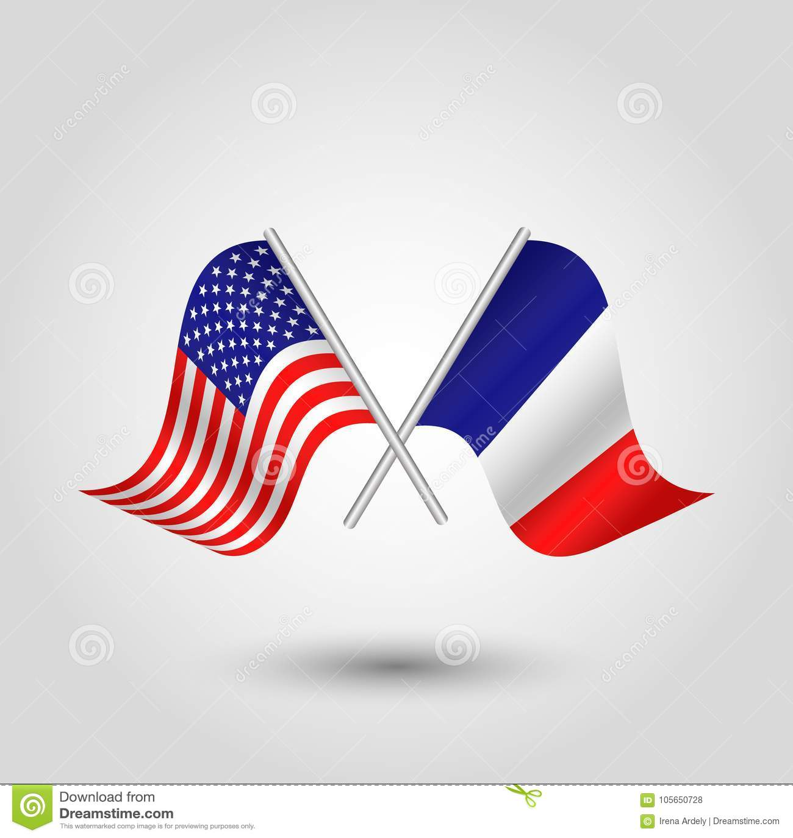 Vektor zwei kreuzte die amerikanischen und französischen Flaggen