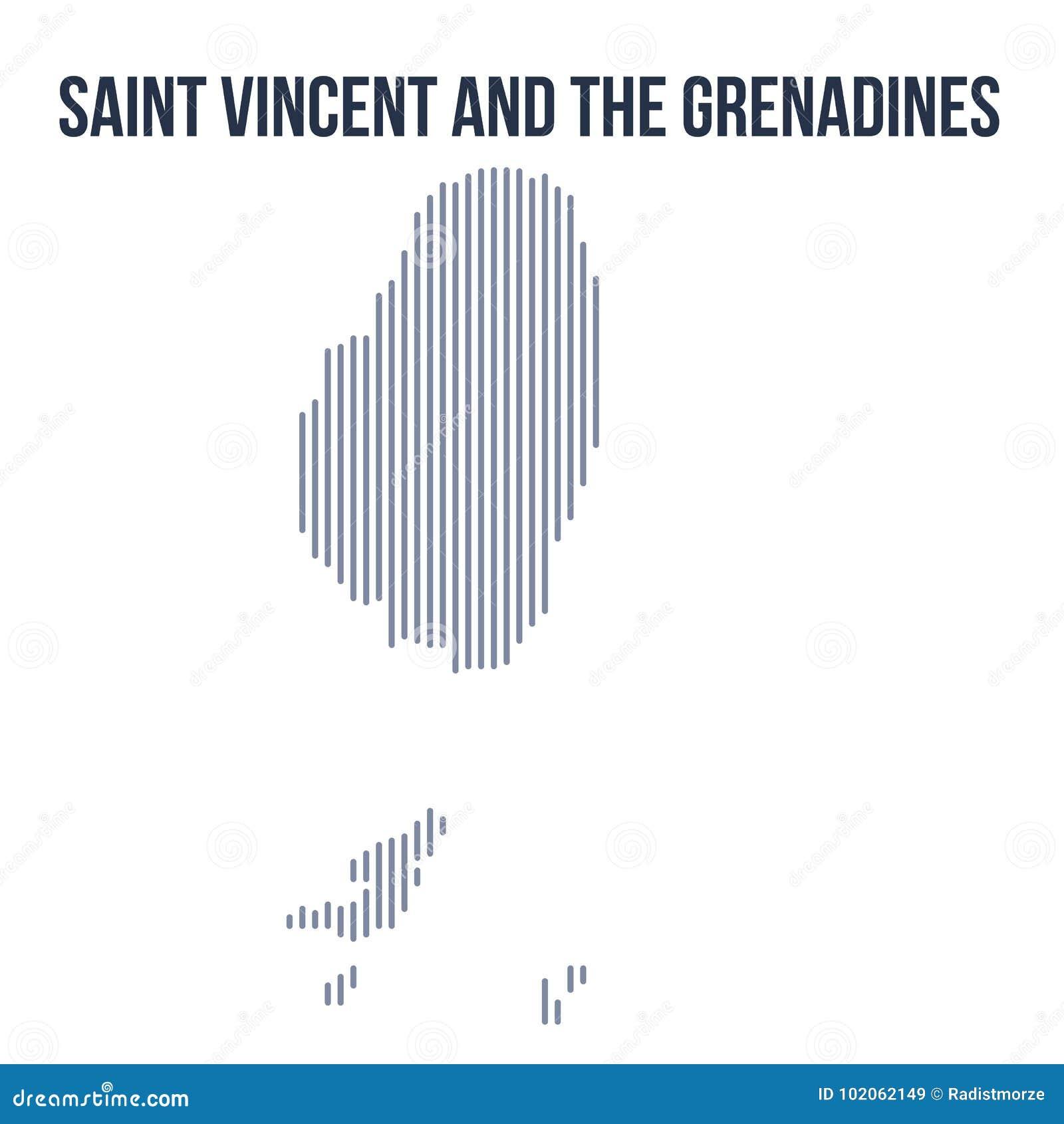 Vektorabstrakt begrepp kläckte översikten av Saint Vincent och Grenadinerna med vertikala linjer som isolerades på en vit bakgrun