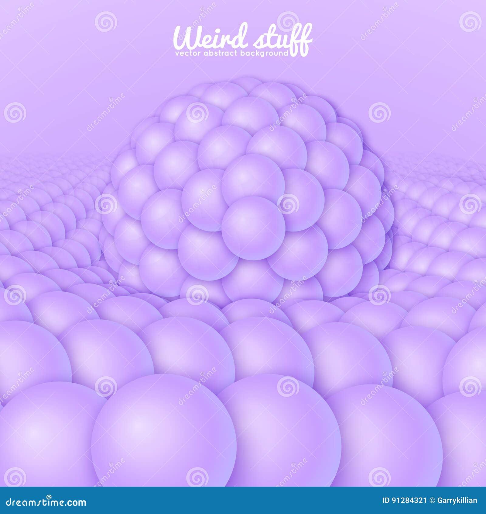 Vektorabstrakt begreppyttersida som konstrueras från sfärer, bågnar under den stora sfären Ljus - violeten klumpa ihop sig bakgru