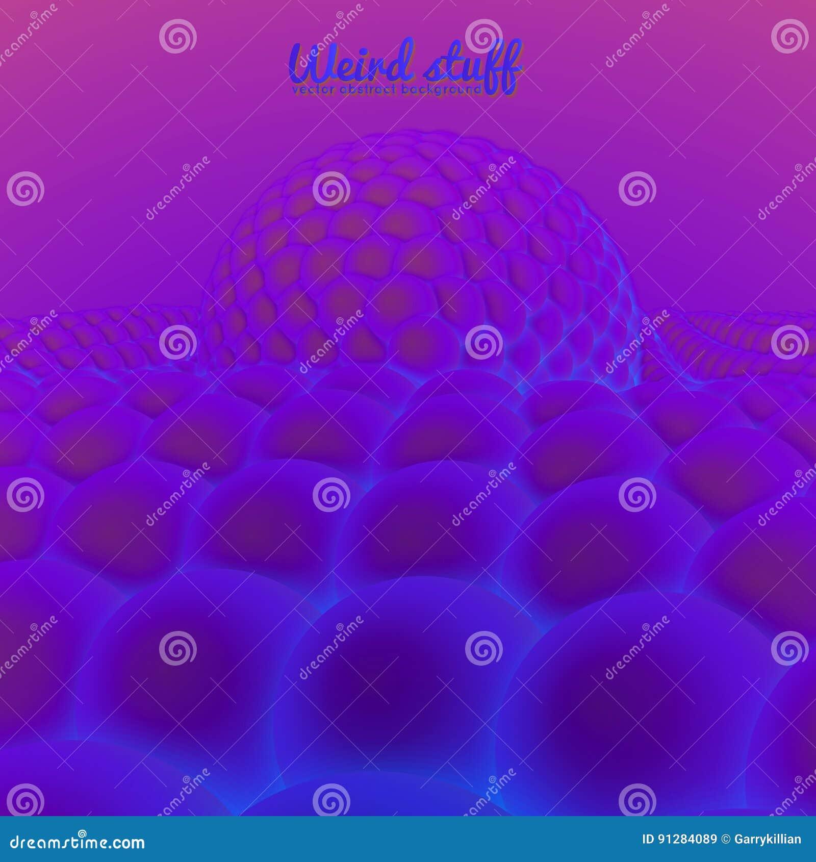 Vektorabstrakt begreppyttersida som konstrueras från sfärer, bågnar under den stora sfären Violeten klumpa ihop sig bakgrund