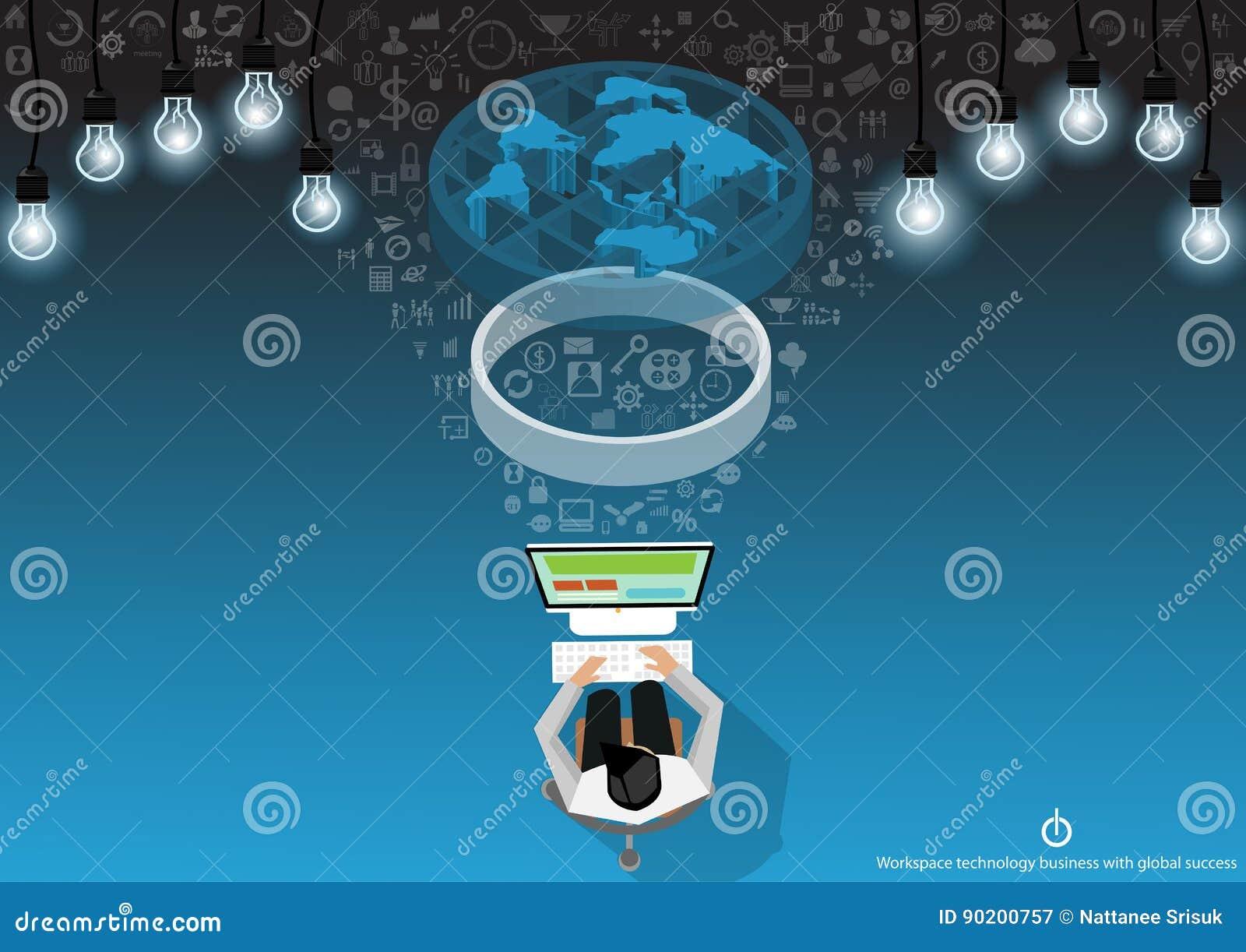 Vektoraffärsmannen med kommunikationsteknologi över hela världen med mobilen, minnestavlan, bärbar datordatorer, lampor och olika