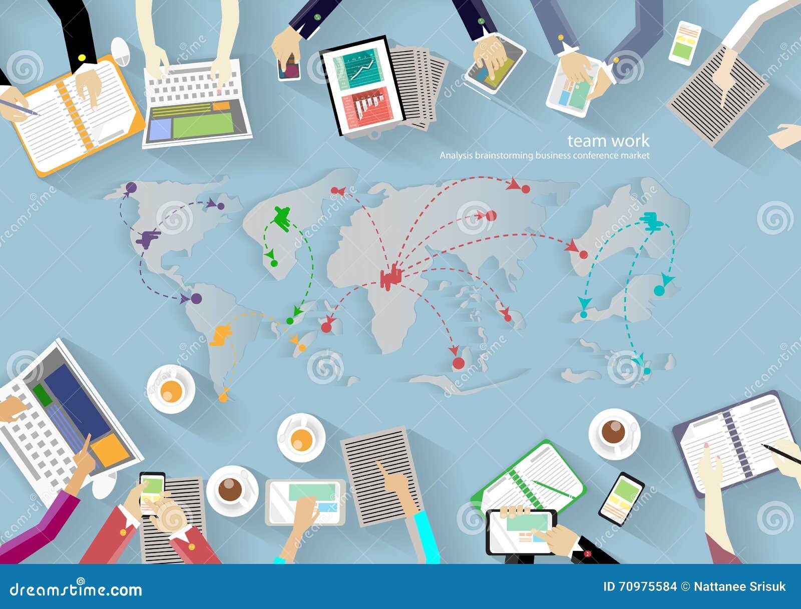 Vektorarbeitsplatz für Geschäftstreffen und Brainstorming Traditionelle Konzepte und Netzfahnen, Printmedien und bewegliche Techn