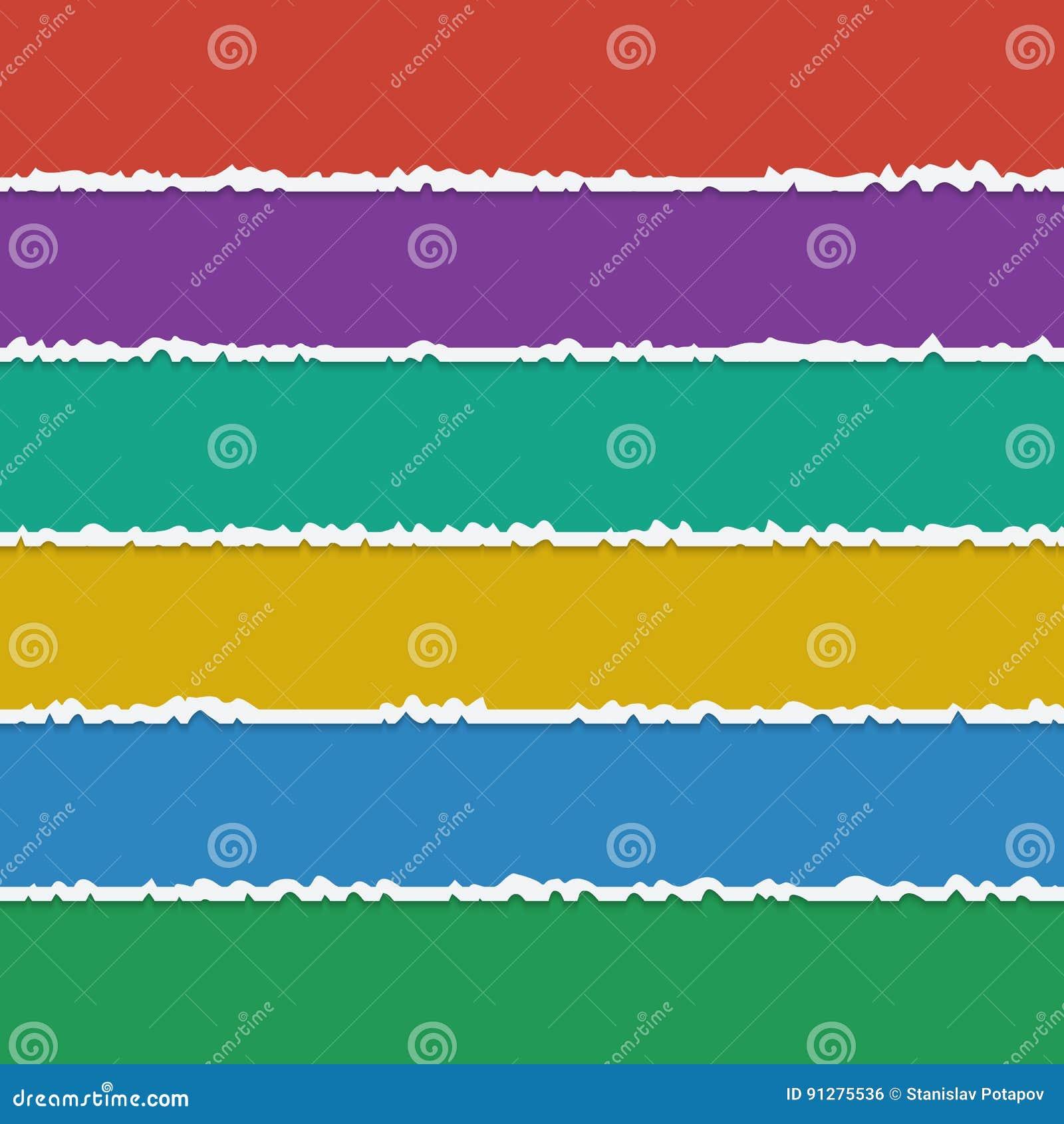 Vektorbakgrund av färgrika sönderrivna pappers- baner med utrymme för
