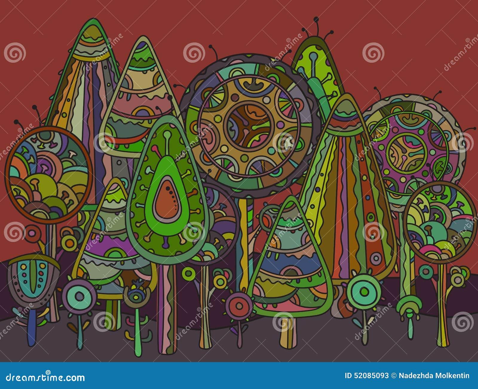 Vektorbakgrund med dekorativa träd