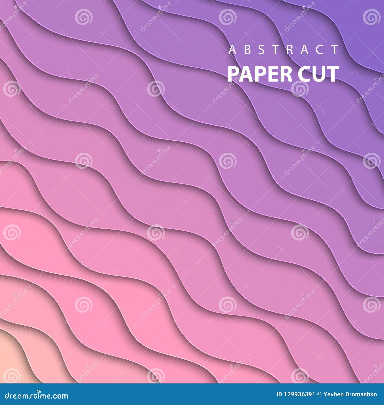 Vektorbakgrund med det rosa färg- och för lilalutningfärg papperssnittet