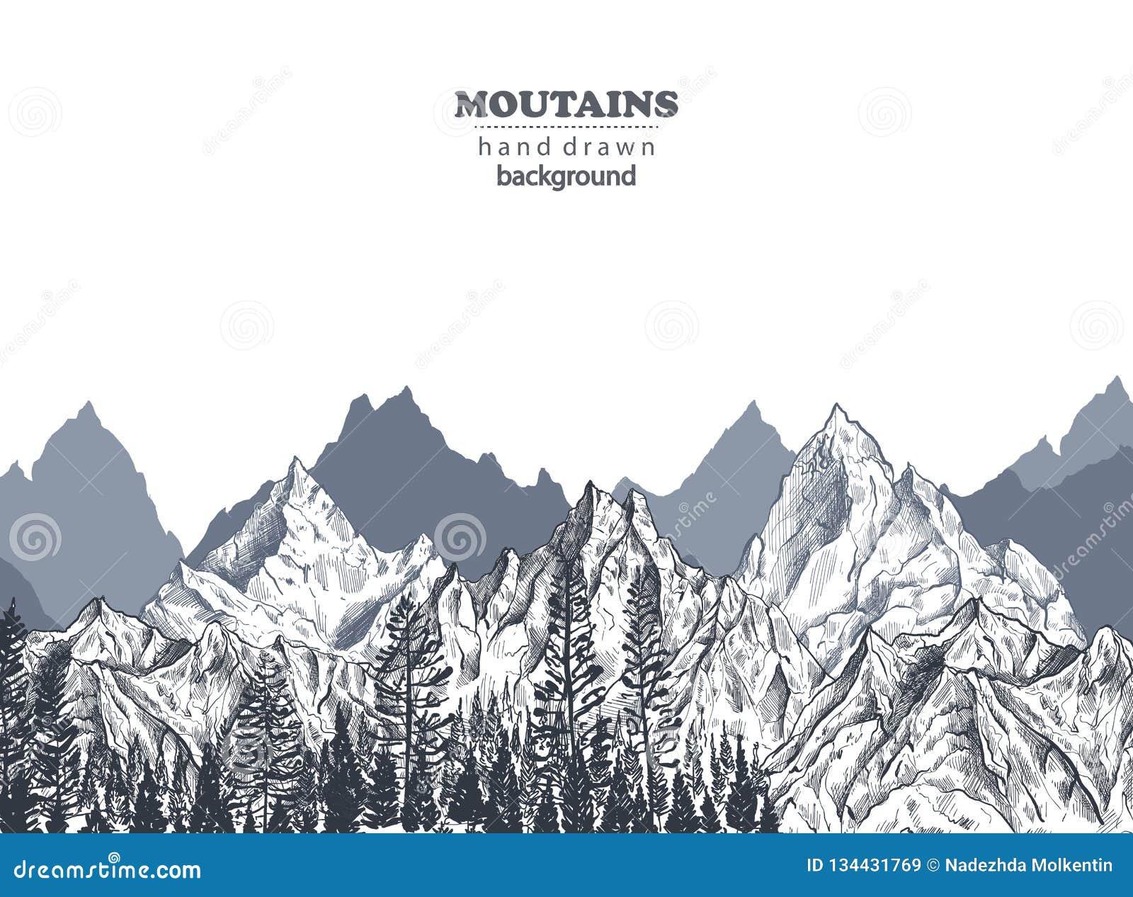 Vektorbakgrund med utdragna grafiska bergskedjor för hand