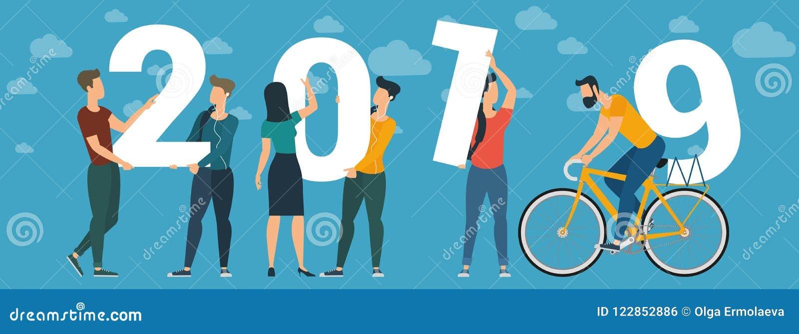 2019 vektorbegrepp för lyckligt nytt år