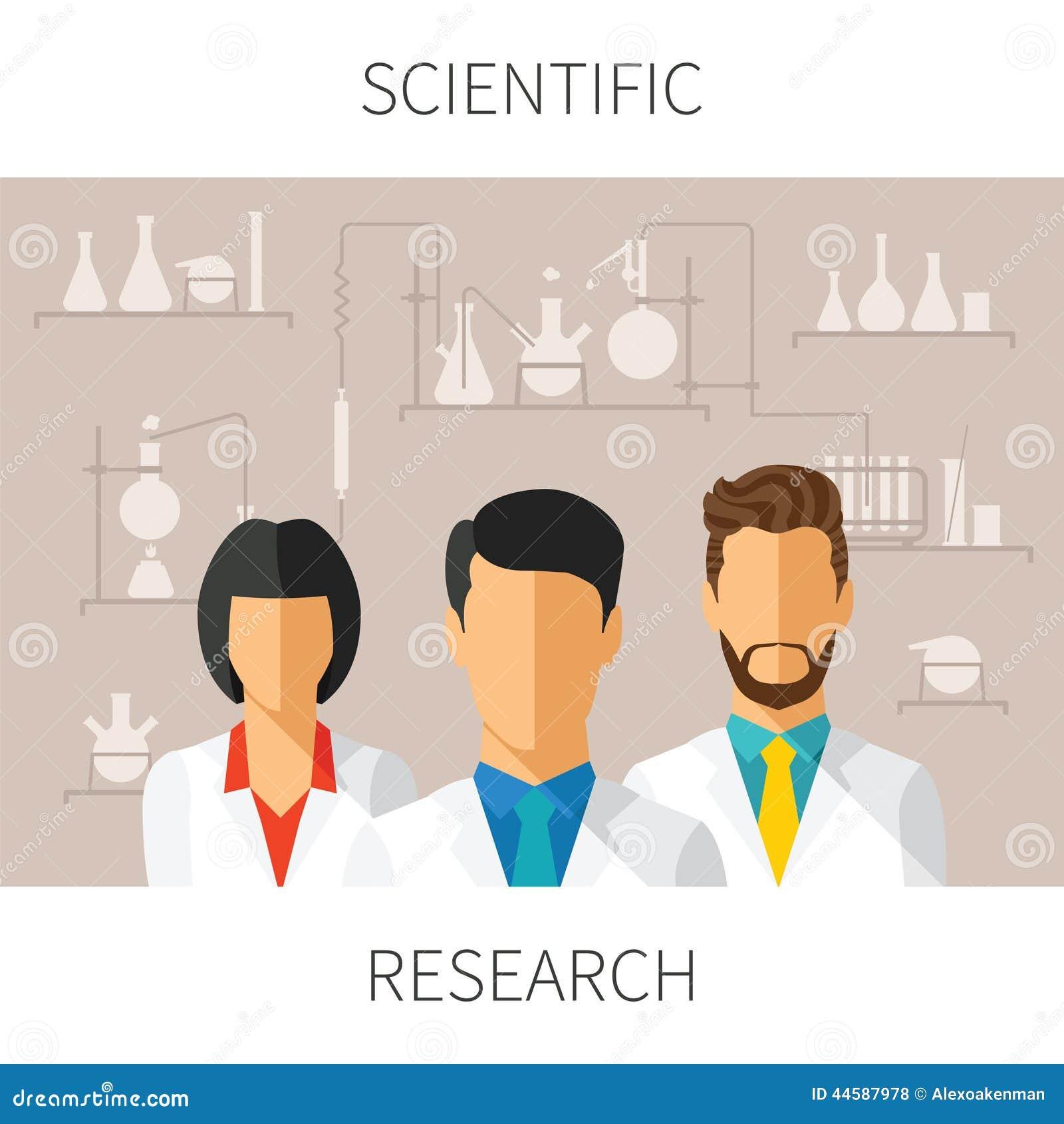 Vektorbegreppsillustration av vetenskaplig forskning med forskare i kemiskt laboratorium