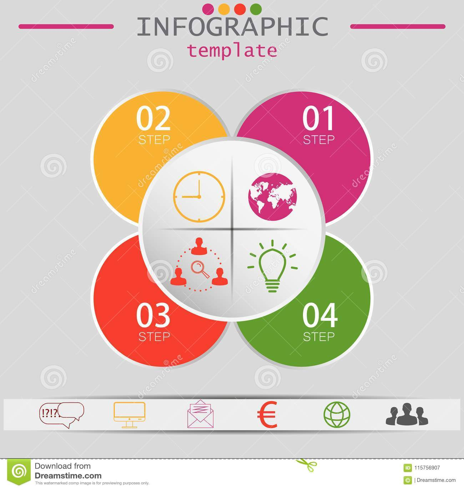 Vektorbeståndsdelar för infographic Mall för diagram, graf, presentation och diagram Affärsidé med 4 alternativ