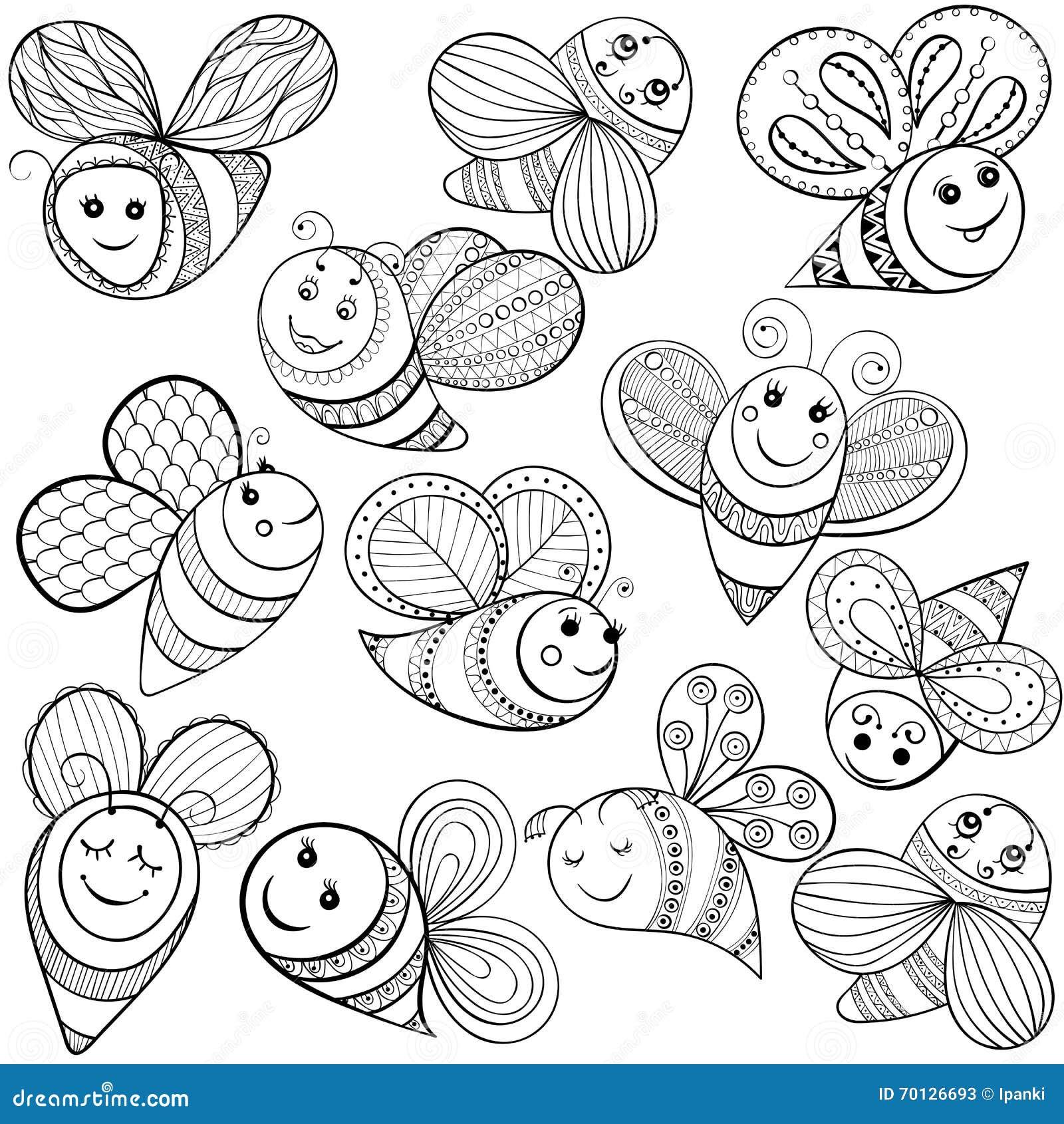 Vektorbienen Für Erwachsene Farbtonseite Hand Gezeichnete Lustige ...
