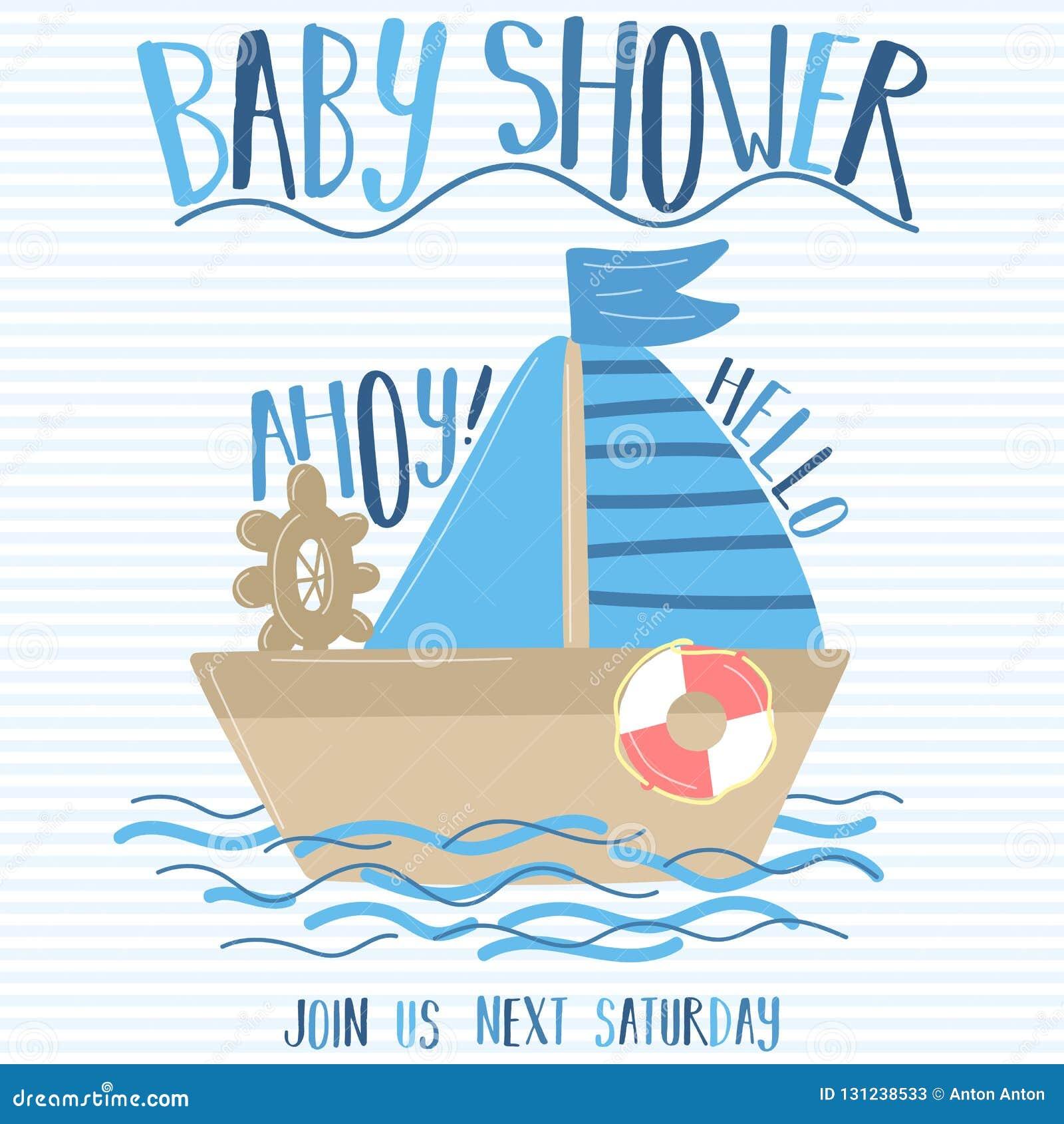Vektorbild av ett fartyg och att segla med inskriftbaby shower och Ahoy på en randig blå bakgrund Illustration p? havsthen