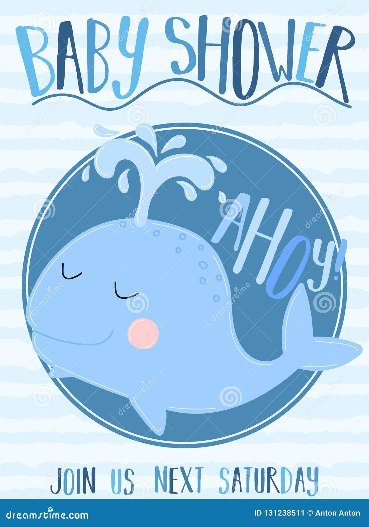 Vektorbild av ett val med inskriftbaby shower och Ahoy på en randig blå bakgrund Illustration p? havstemat f?r