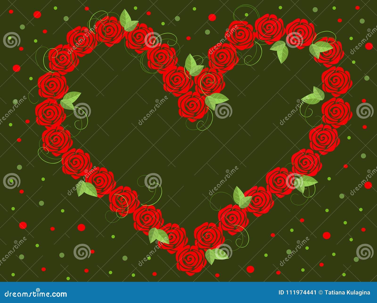 Vektorbild av röda rosor i formen av hjärta