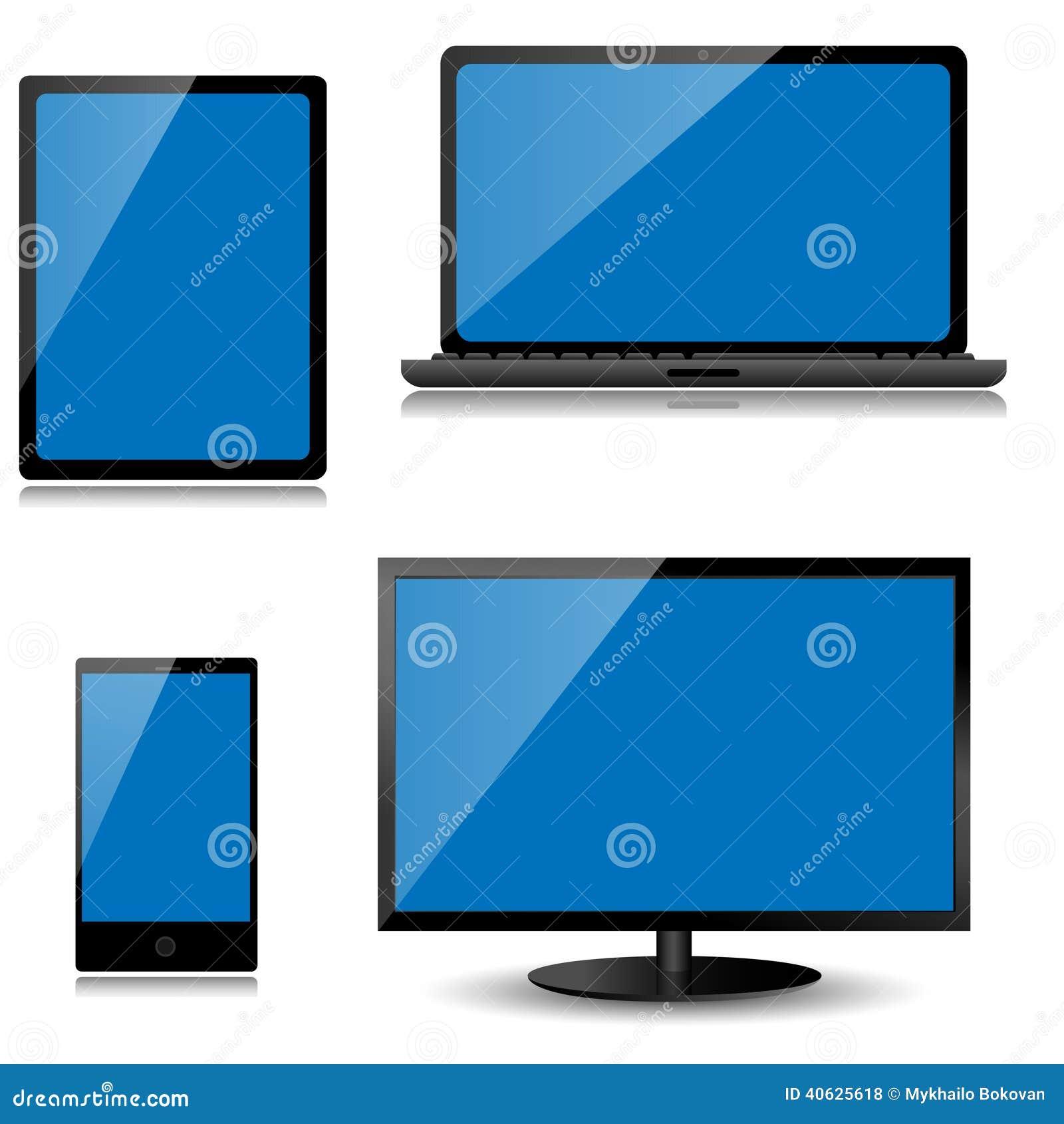 Vektorbildskärm, bärbar dator, minnestavladator och mobiltelefon