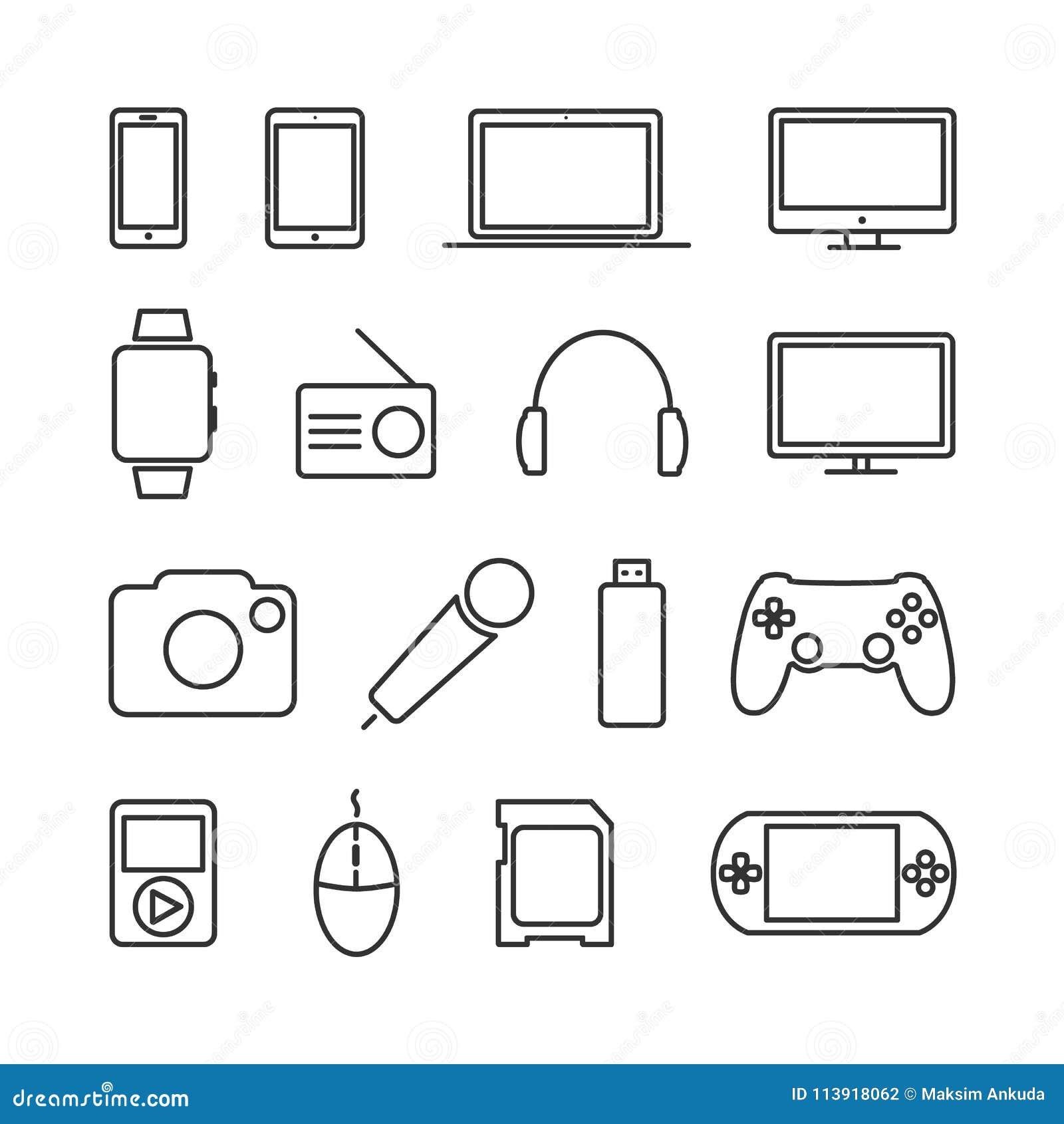 Vektorbilduppsättningen av apparater och elektronik fodrar symboler