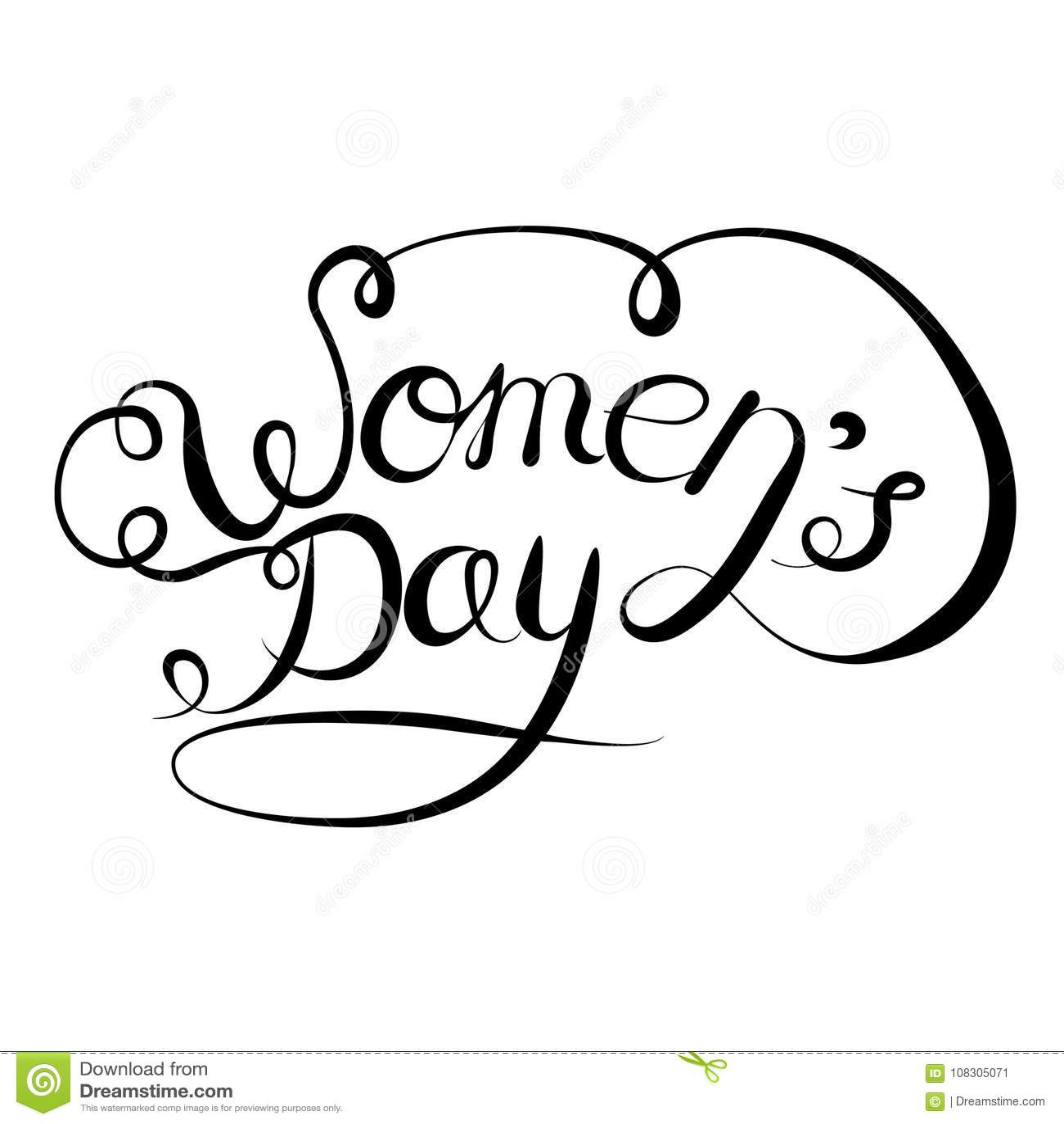 Vektorbokstäverhand som dras på en vit bakgrund Internationell dag för kvinnor s på mars 8