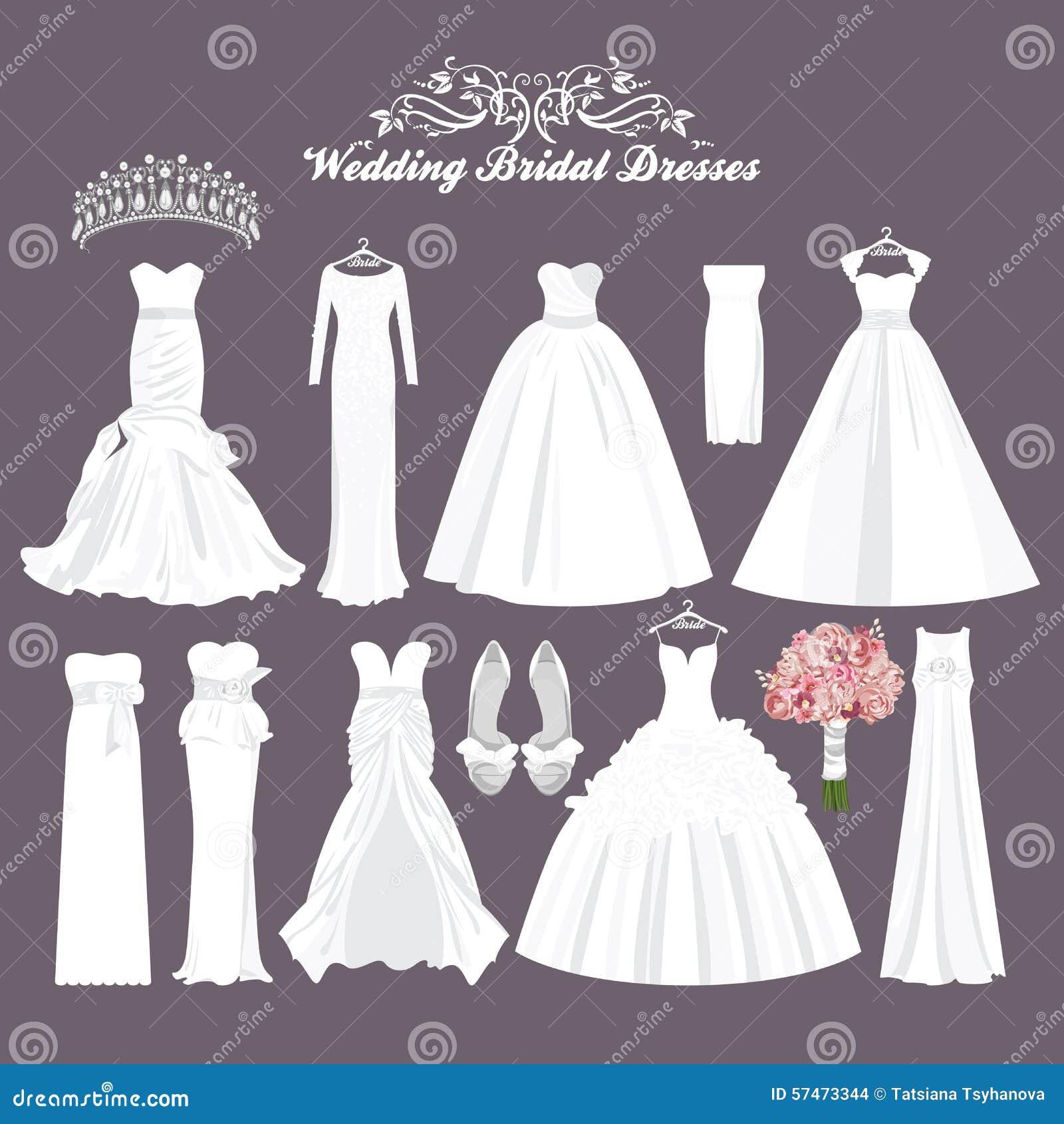 Den Kleid Verschiedenen Modebraut Vektorbrautkleider In Weißes Arten nN8wm0