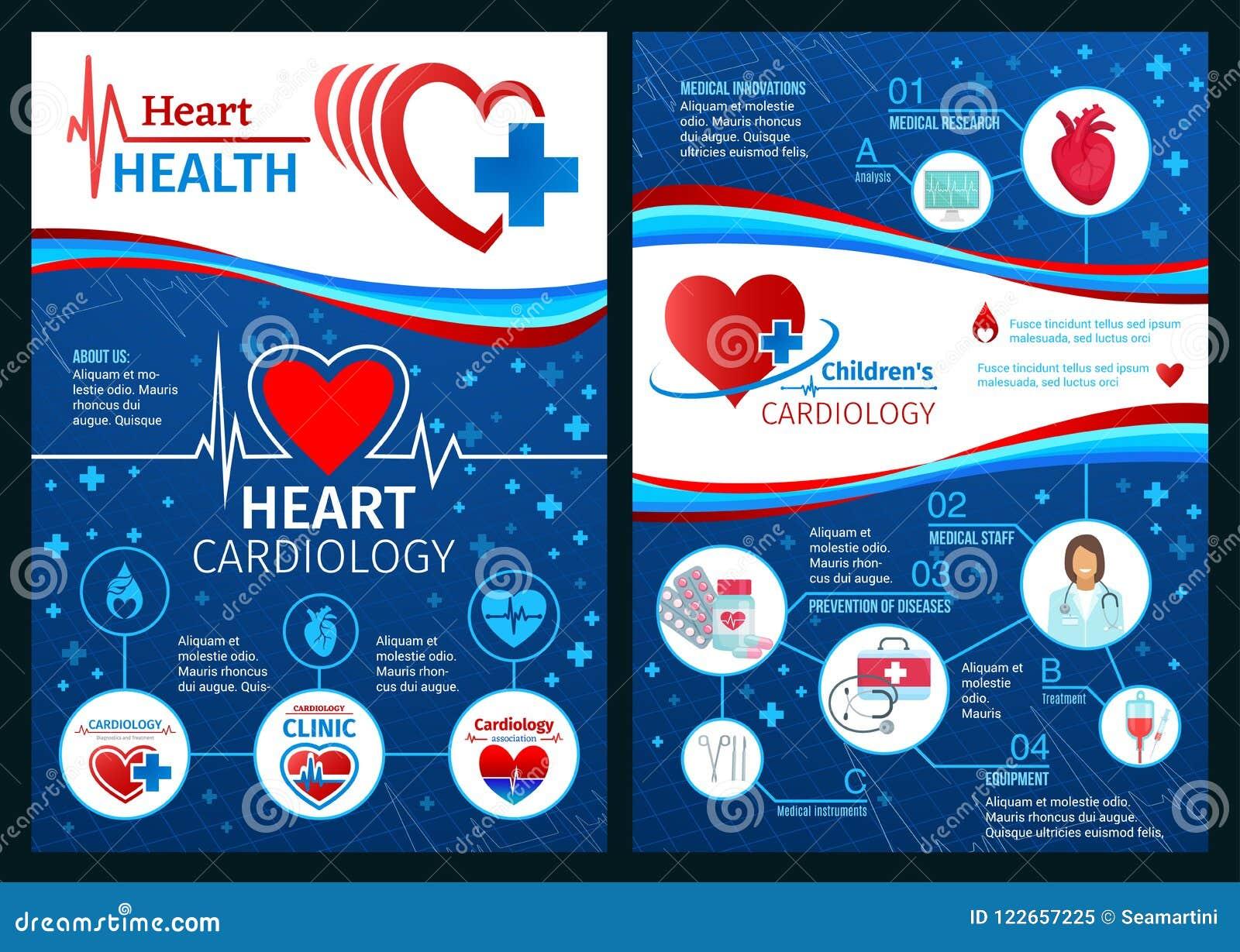 Vektorbroschyr av kardiologihjärtamedicin