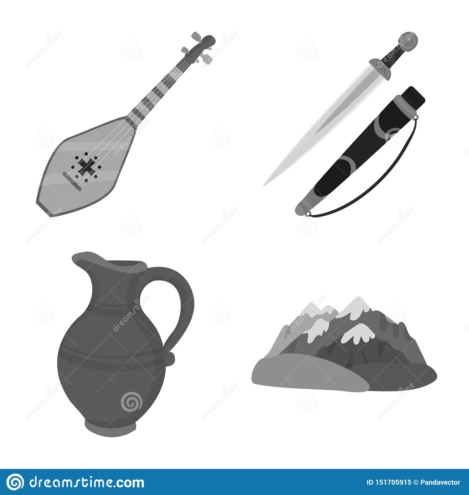 Vektordesign av attribut och turismsymbolen St?ll in av attribut och illustration f?r medborgarematerielvektor