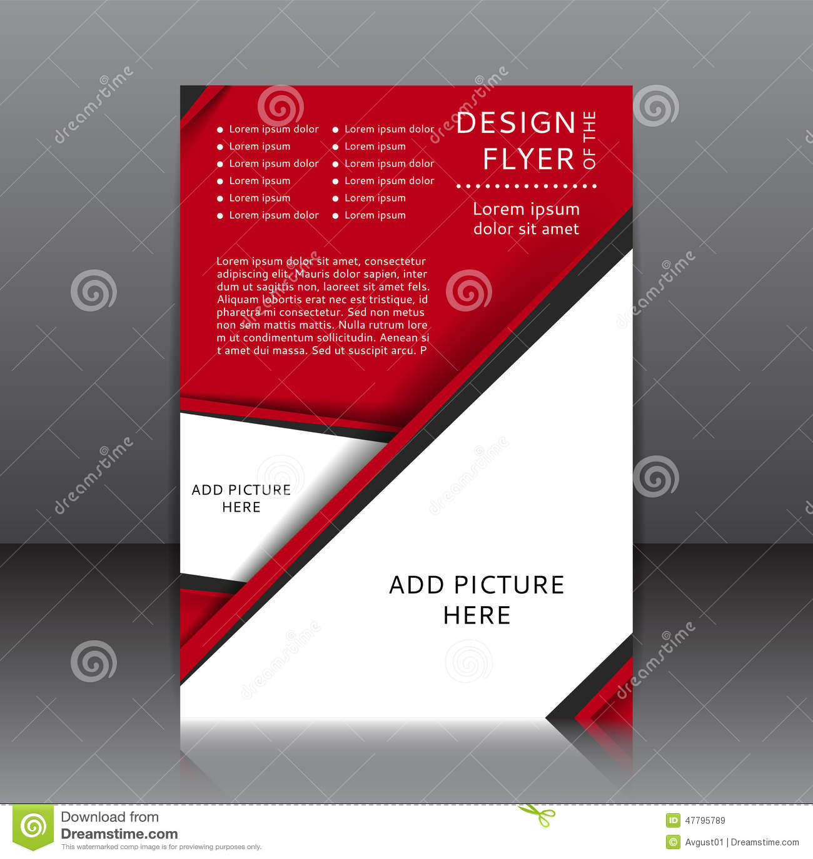Vektordesign av den röda reklambladet med svarta beståndsdelar och ställen för bilder