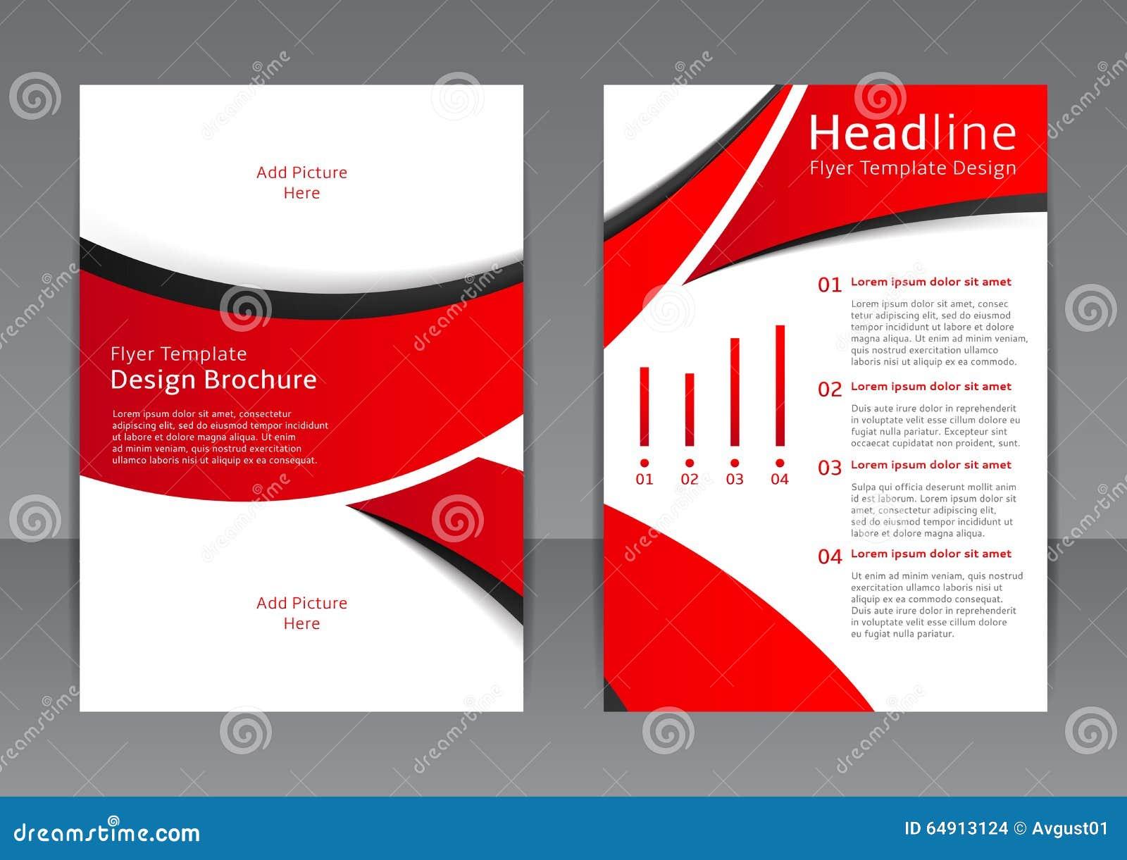 Vektordesign av den röda reklambladet, räkning, broschyr, affisch, rapport med svarta beståndsdelar
