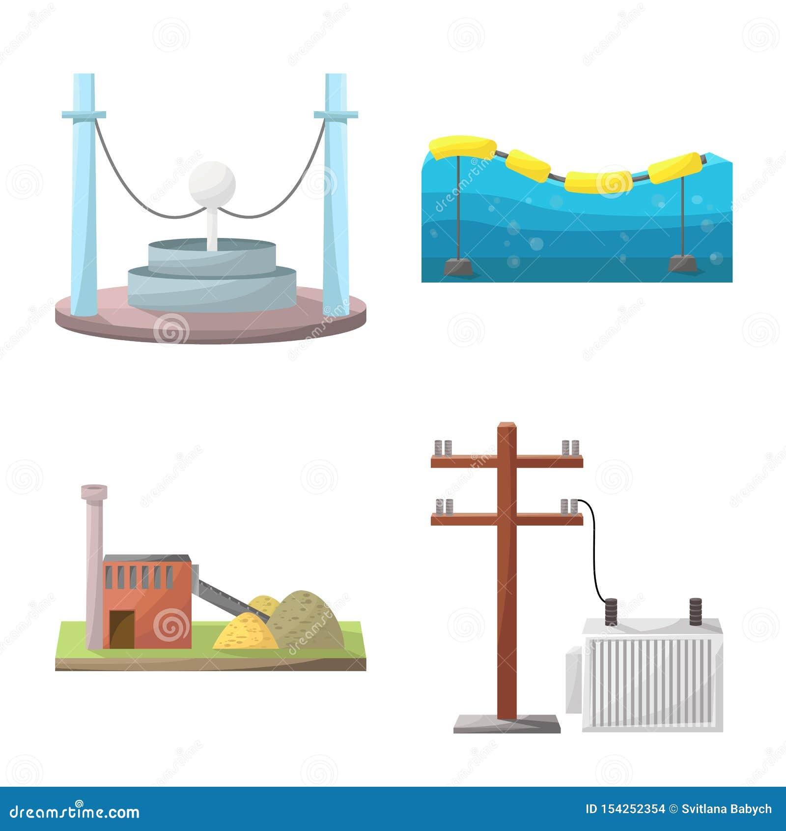 Vektordesign av energi och den alternativa symbolen Ställ in av energi- och för utvecklingsmaterielvektor illustration