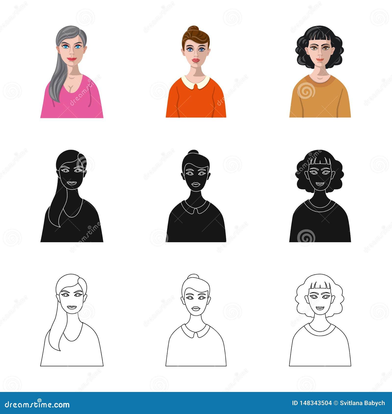 Vektordesign av frisyr- och yrkesymbolet Samling av frisyr- och teckenvektorsymbolen f?r materiel
