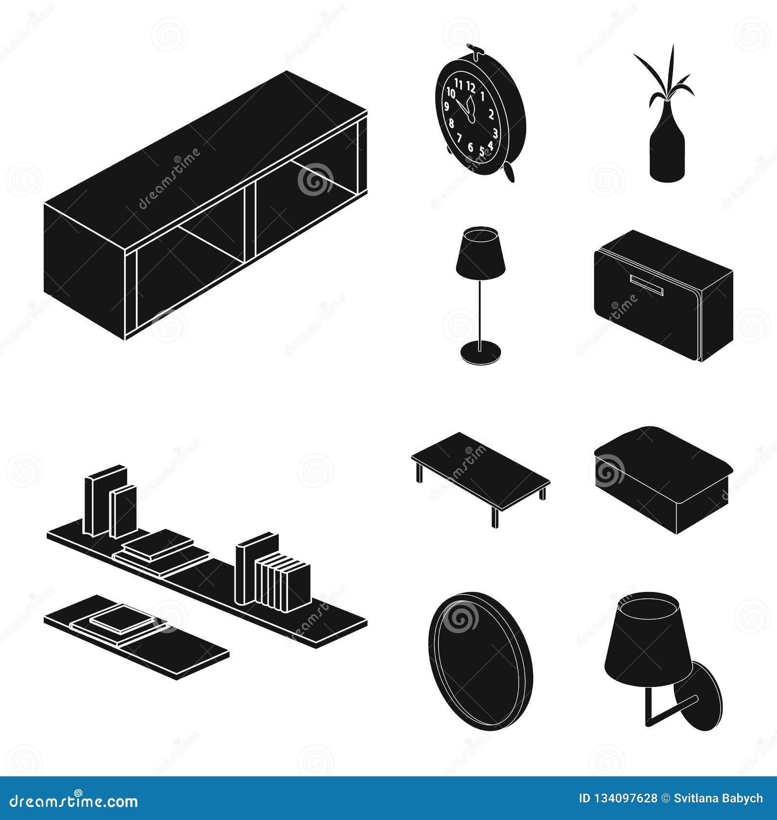 Vektordesign av sovrum- och rumlogoen Uppsättning av sovrum- och möblemangvektorsymbolen för materiel