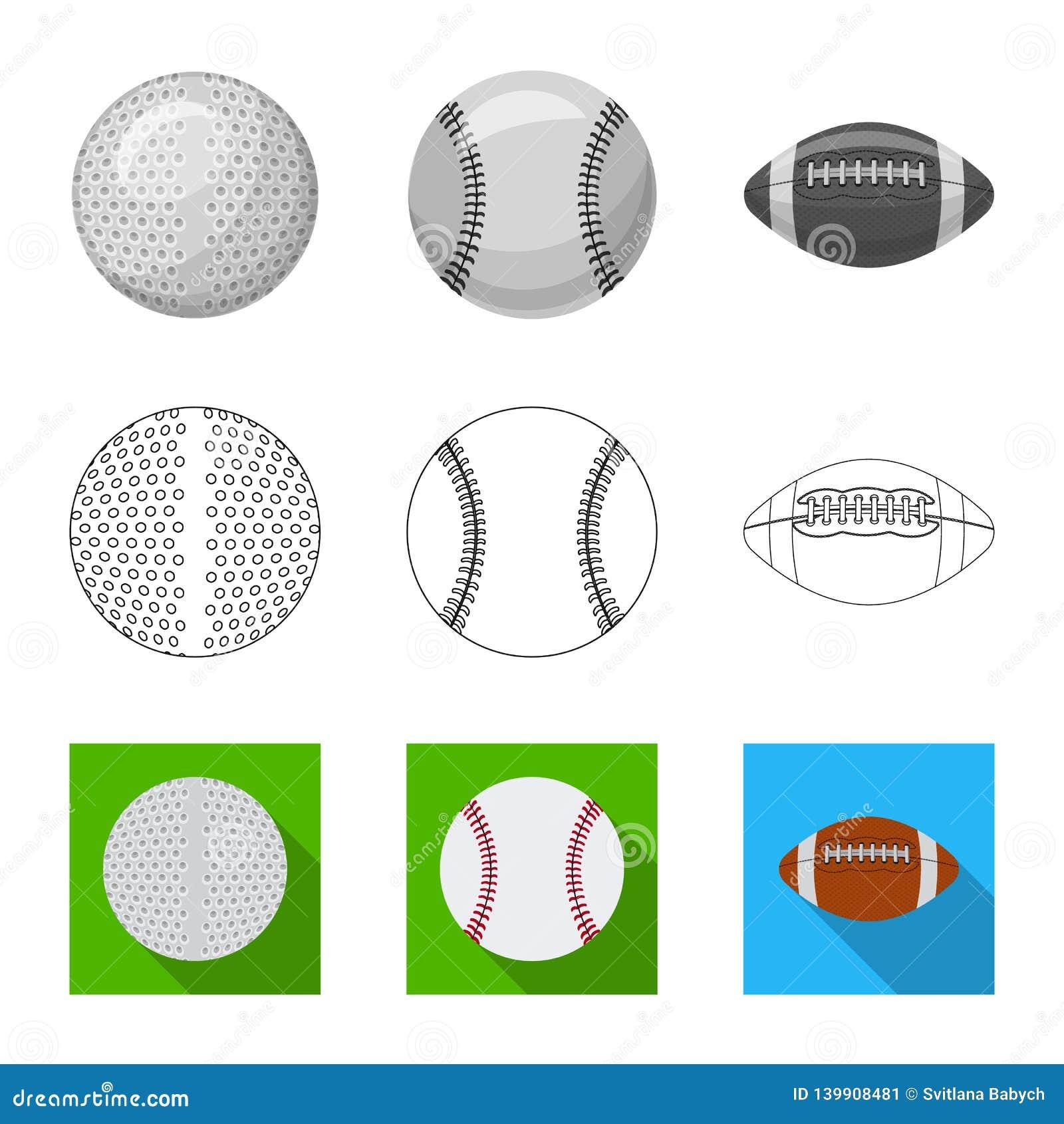 Vektordesign av sport- och bolllogoen Uppsättning av sporten och idrotts- vektorsymbol för materiel