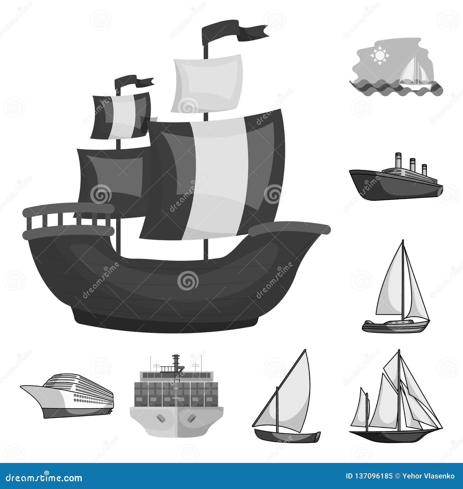 Vektordesign av yacht- och skepplogoen Samling av yacht- och kryssningmaterielsymbolet för rengöringsduk